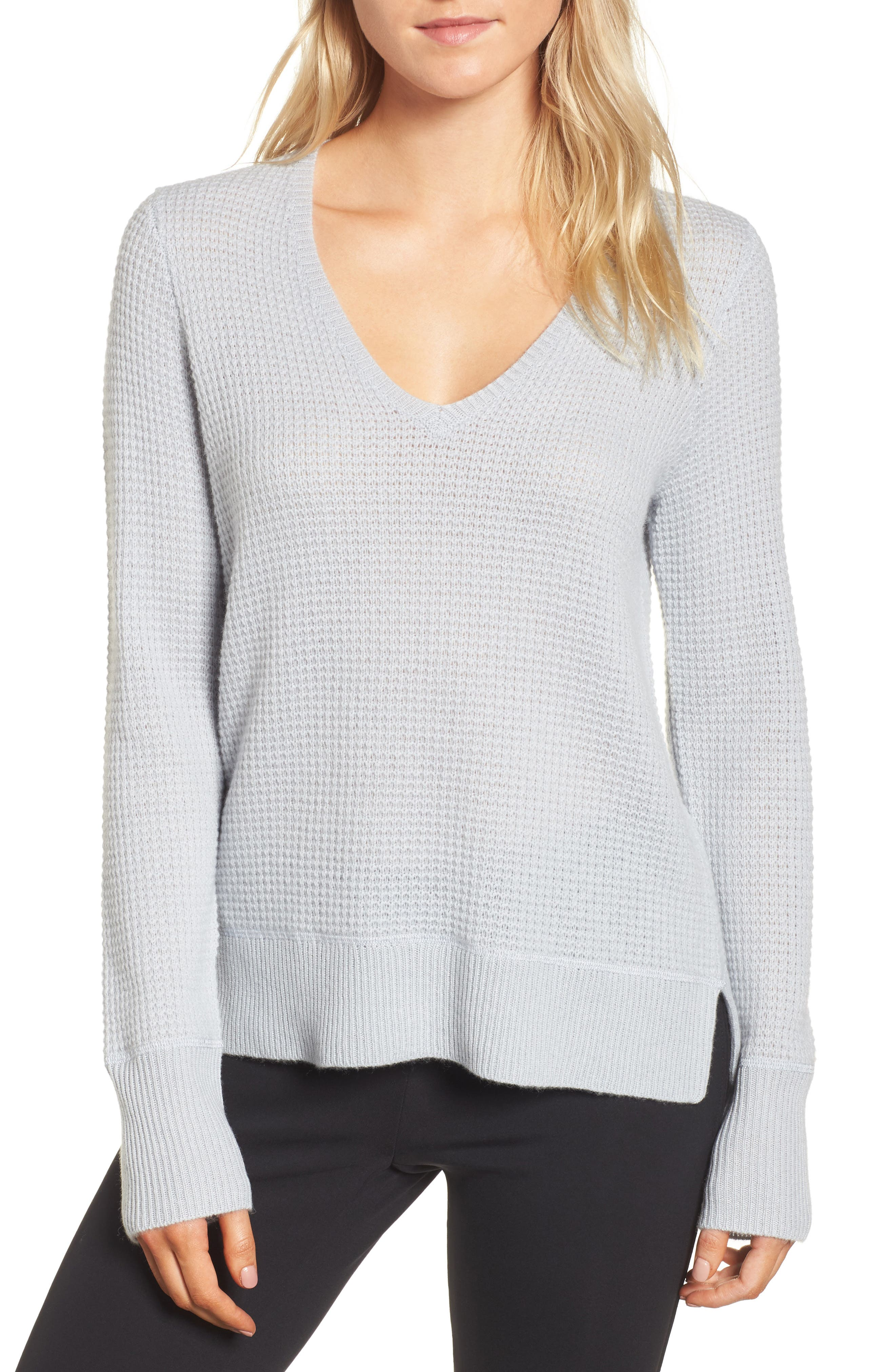 Cashmere Thermal Sweater,                         Main,                         color, Heather Blue Fog