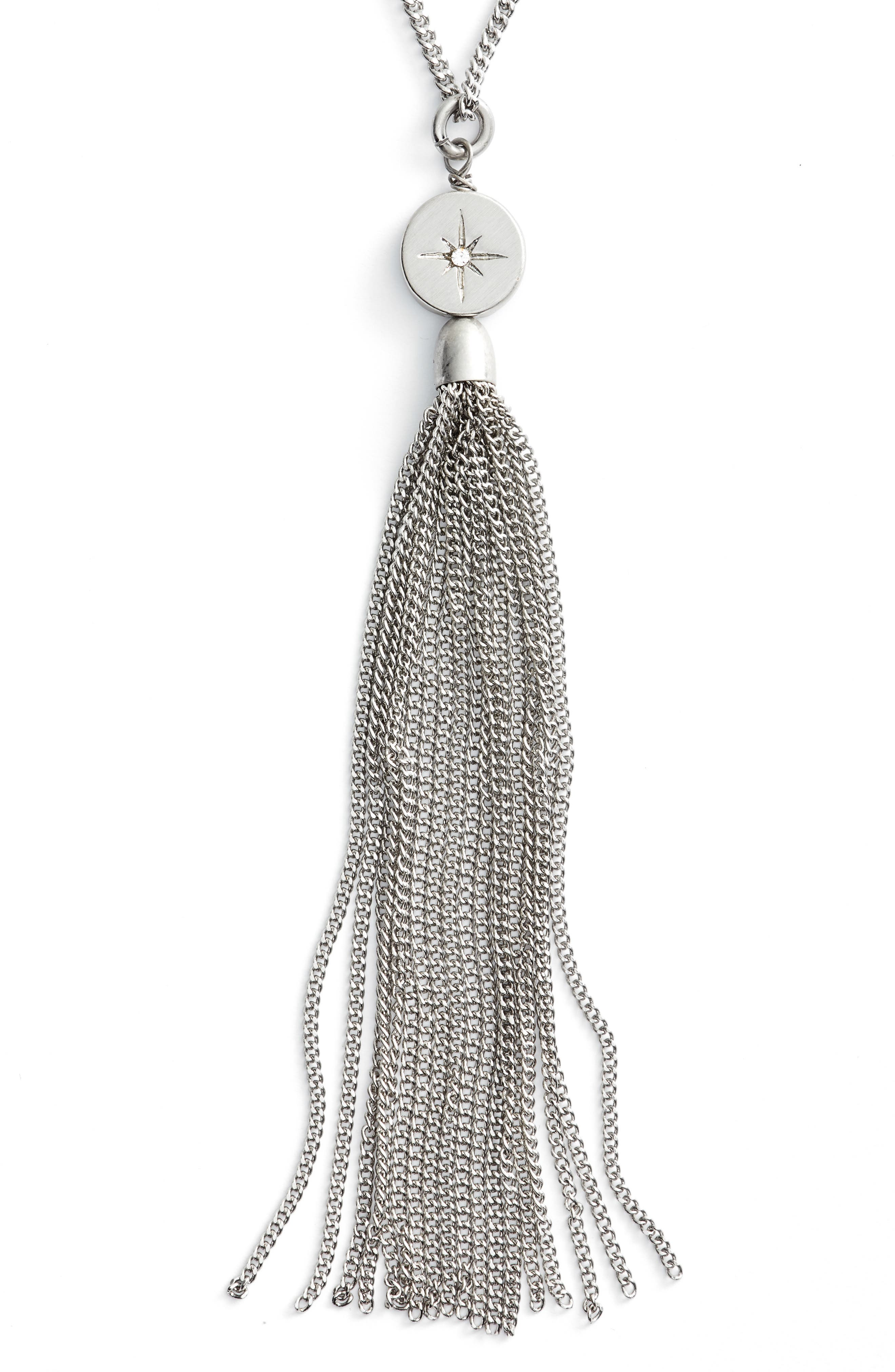 Star Disc Tassel Pendant Necklace,                             Alternate thumbnail 2, color,                             Clear- Rhodium
