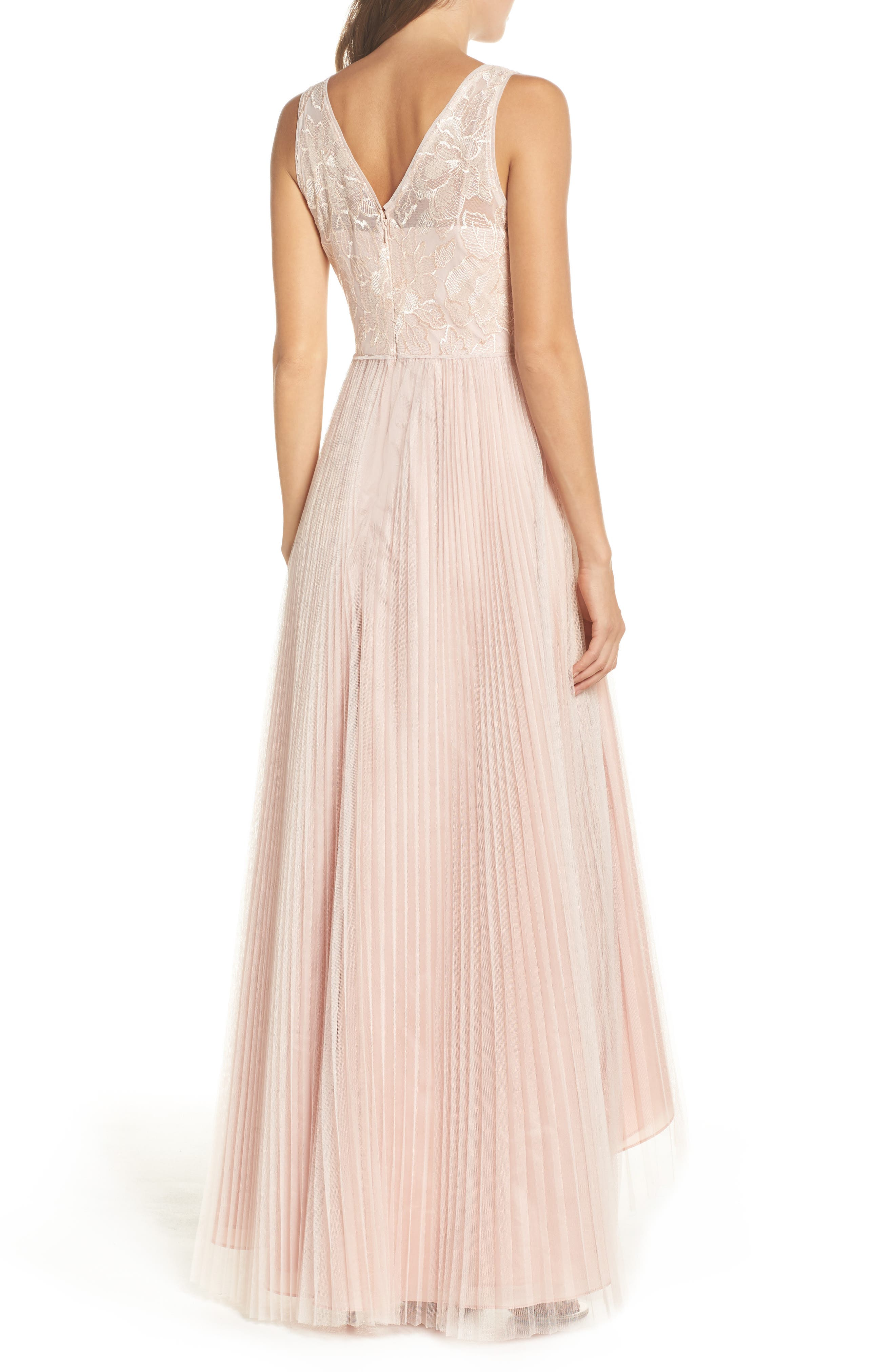 Sequin Pleated Tulle High/Low Gown,                             Alternate thumbnail 2, color,                             Blush