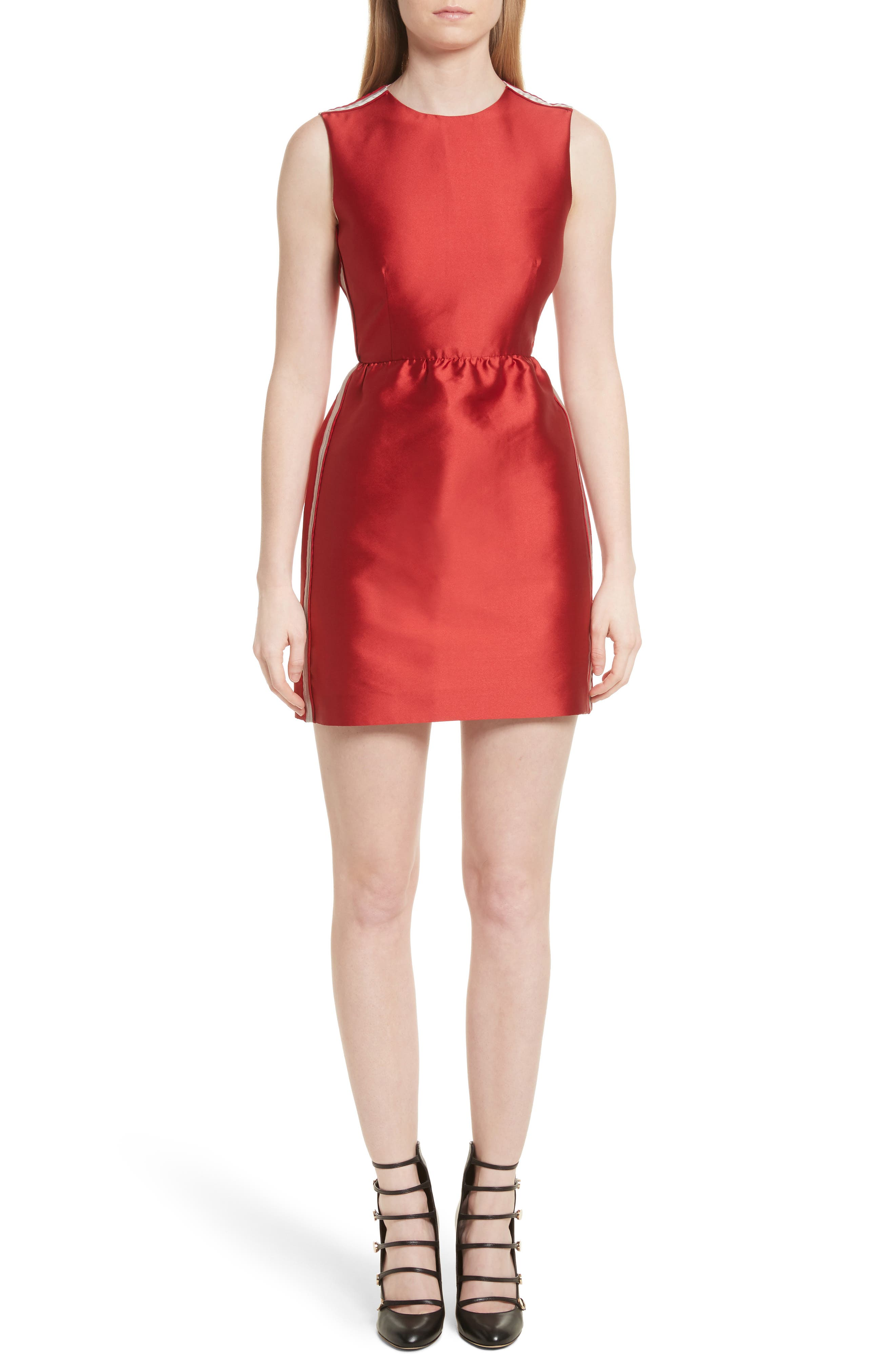Stripe Twill Fit & Flare Dress,                             Main thumbnail 1, color,                             Red