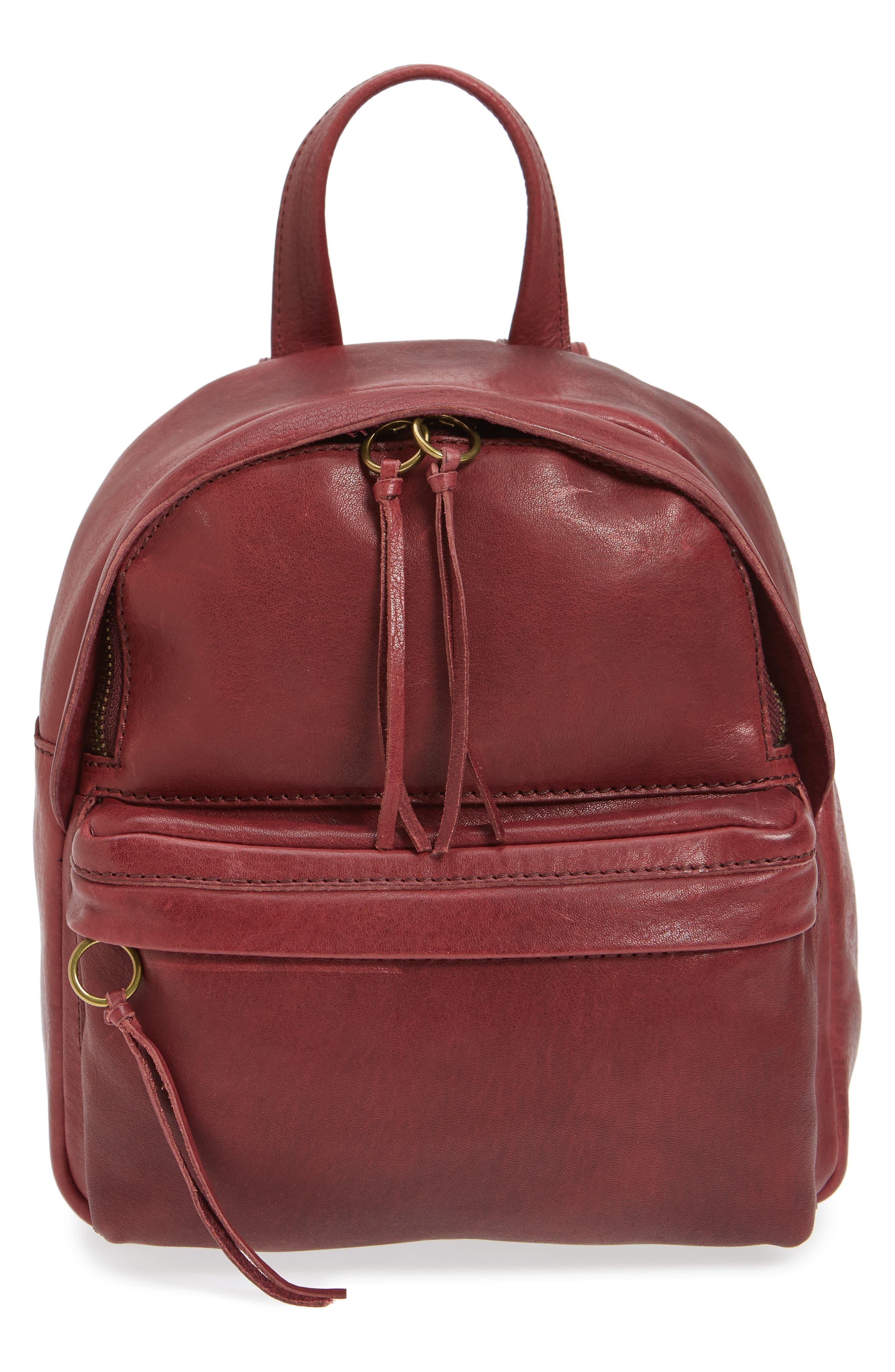 Mini Lorimer Leather Backpack,                         Main,                         color, Dark Cabernet