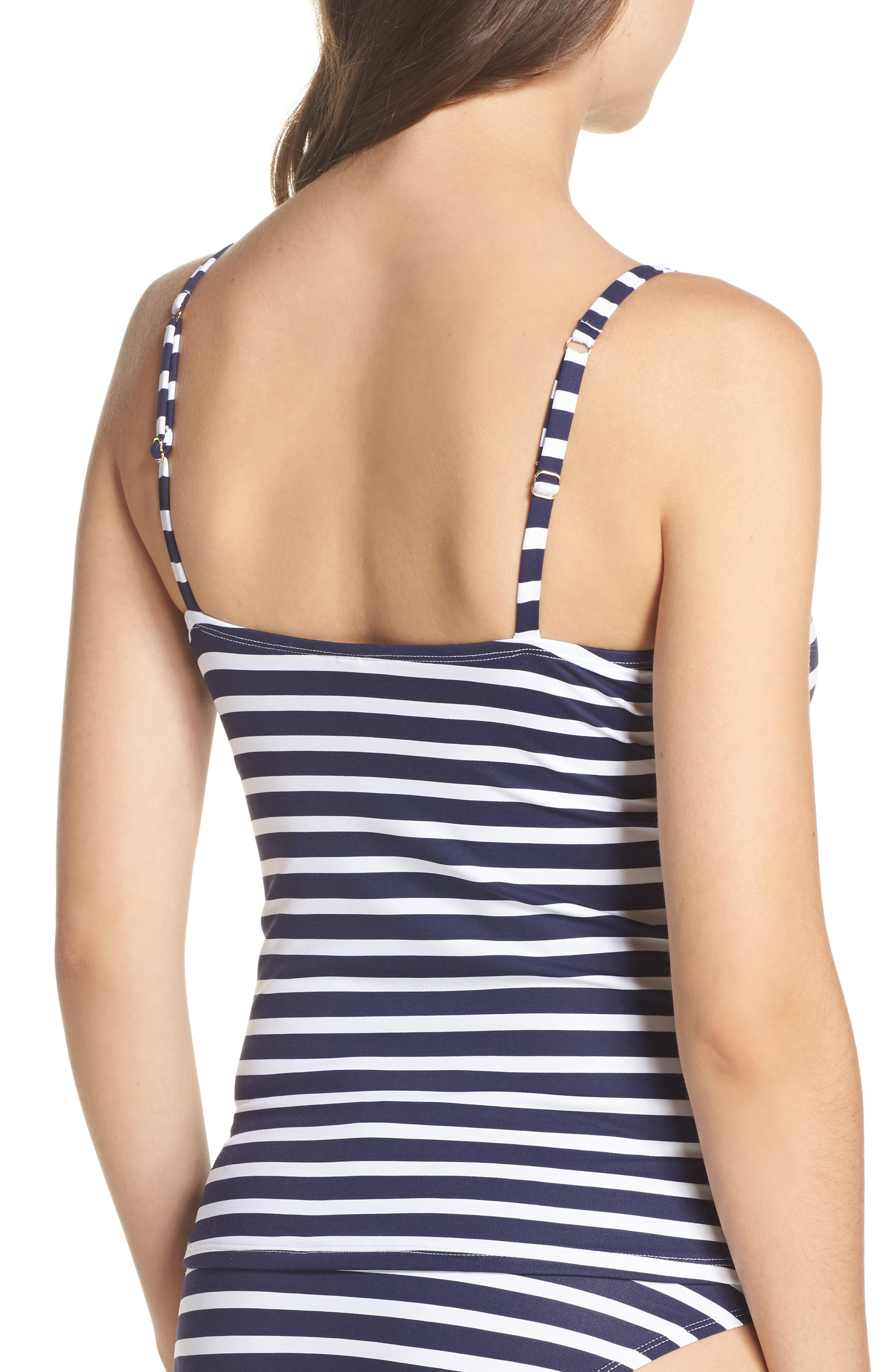 Breton Stripe Tankini Top,                             Alternate thumbnail 2, color,                             Mare Navy/ White