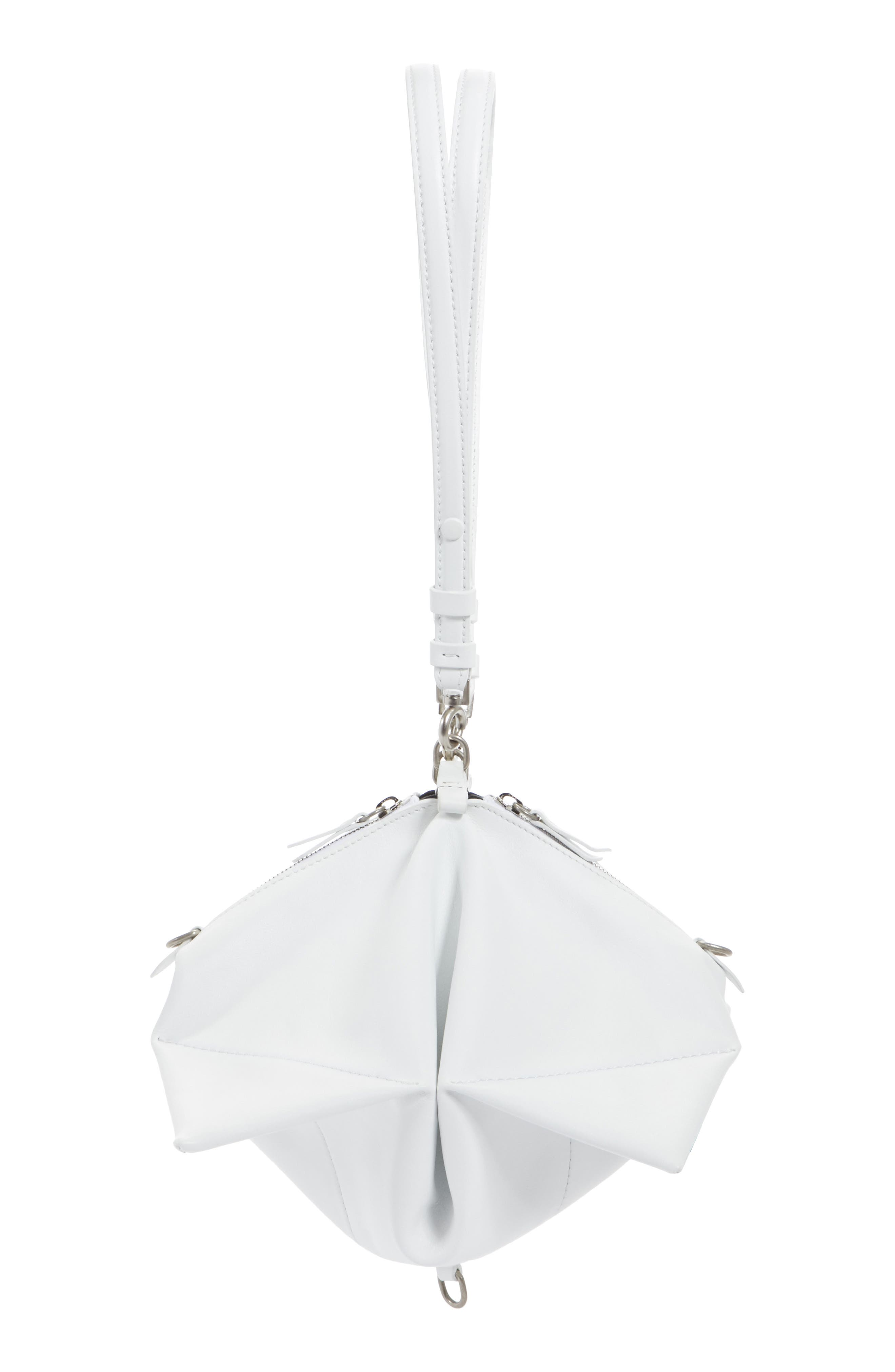 Mini Leather Magic Collapsible Bag,                             Main thumbnail 1, color,                             White