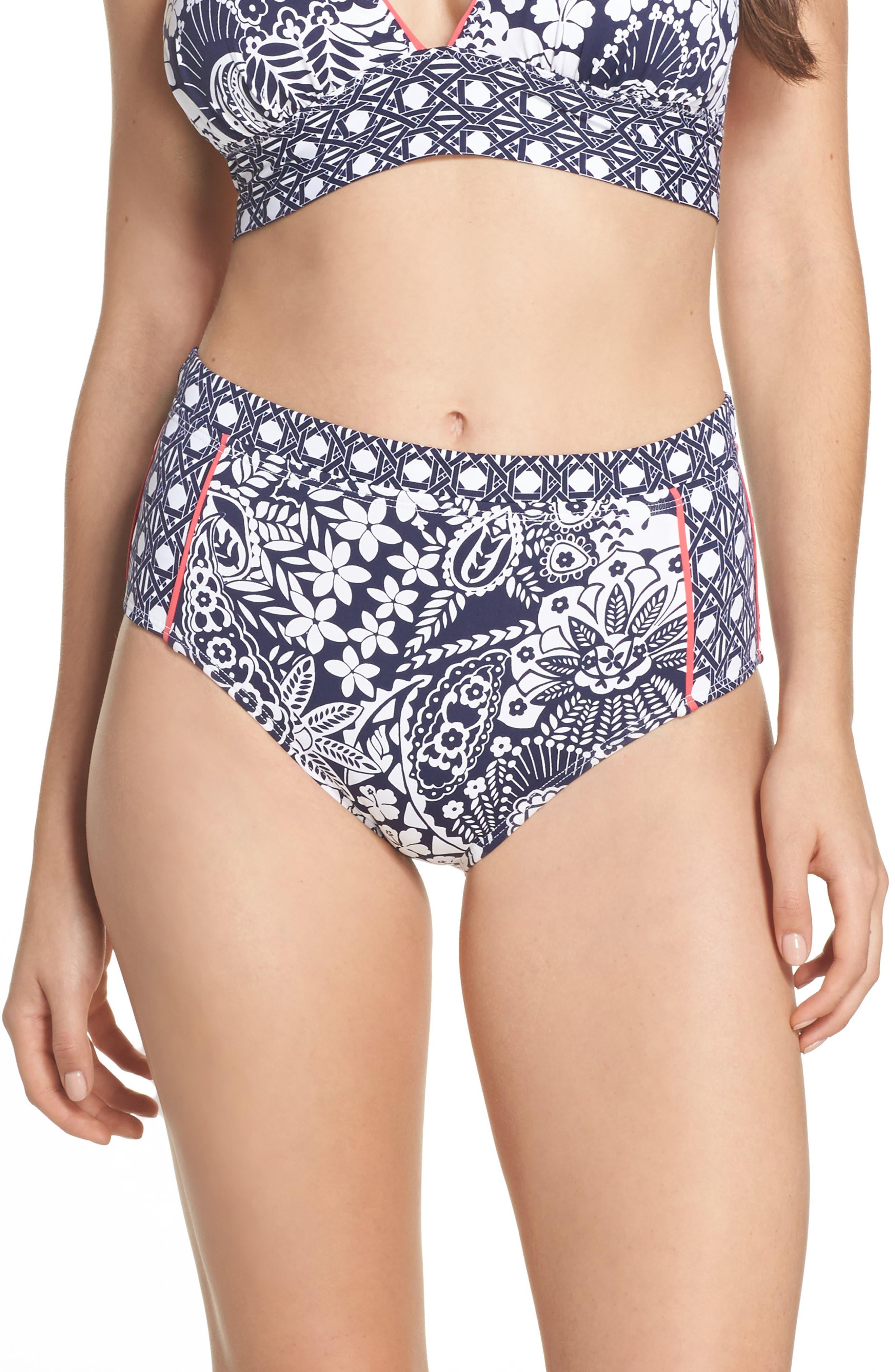 Paisley Paradise High Waist Bikini Bottoms,                         Main,                         color, Mare Navy