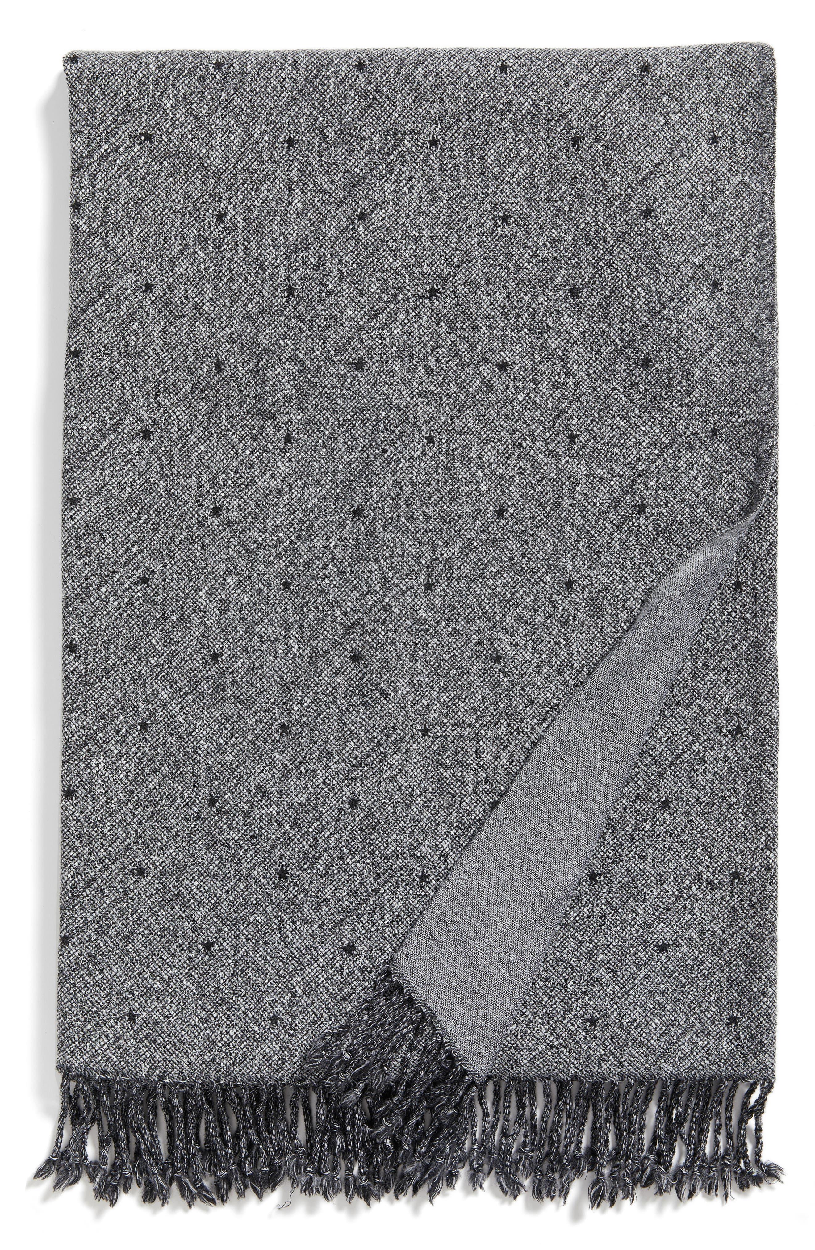 Blackstar Double Face Merino Wool Throw,                         Main,                         color, Blackstar