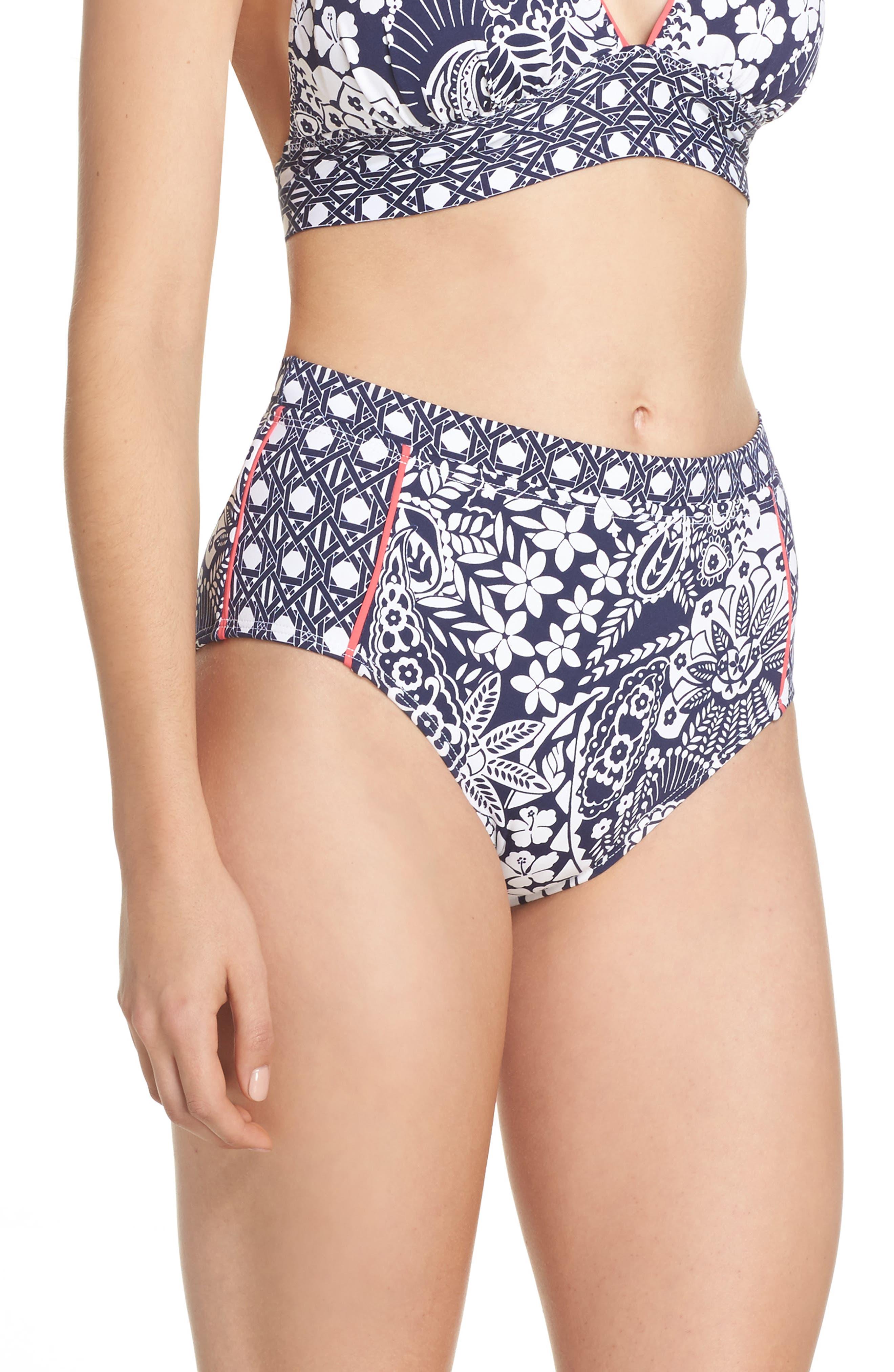 Paisley Paradise High Waist Bikini Bottoms,                             Alternate thumbnail 3, color,                             Mare Navy