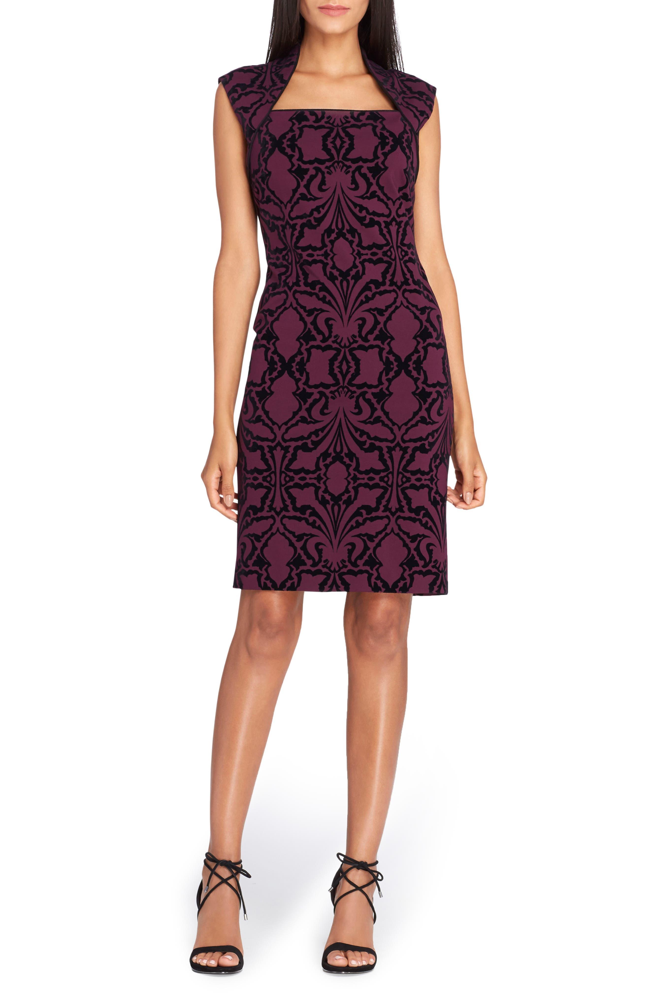 Scuba Body-Con Dress,                             Main thumbnail 1, color,                             Bordeaux/ Black