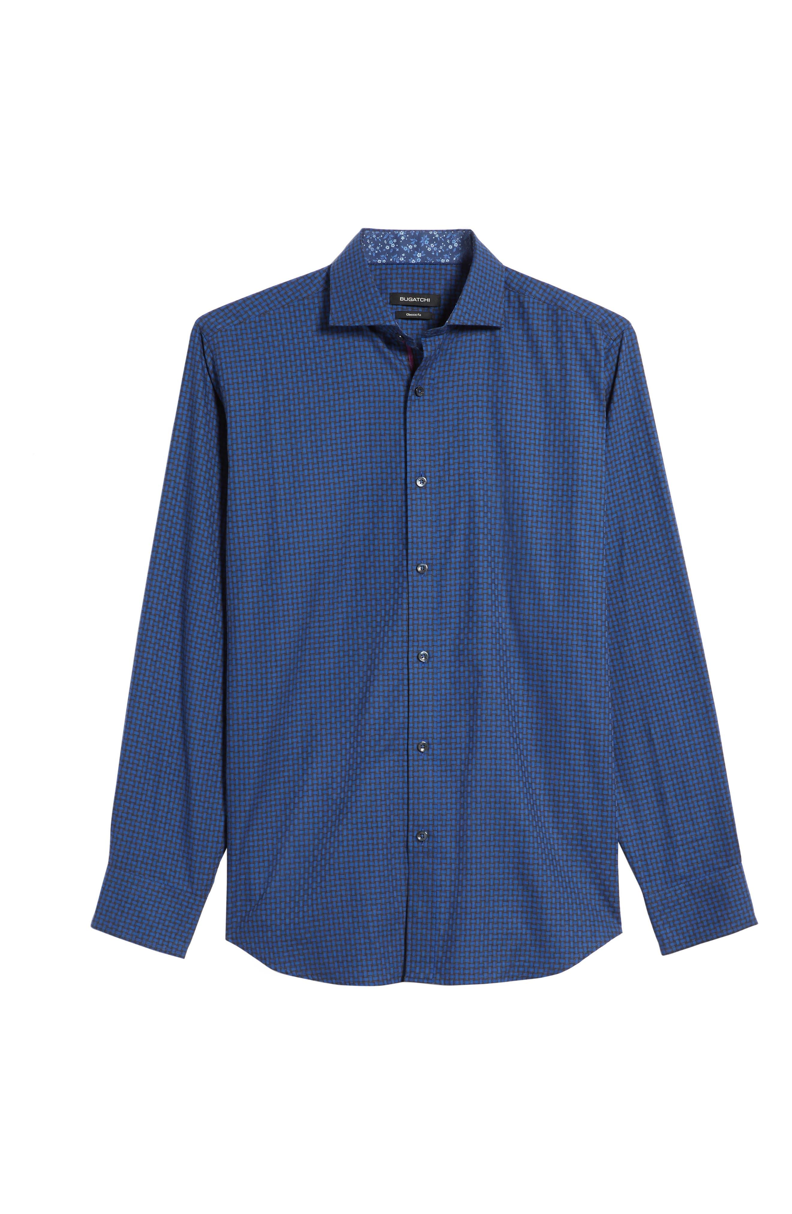 Classic Fit Basket Weave Jacquard Sport Shirt,                             Alternate thumbnail 6, color,                             Night Blue