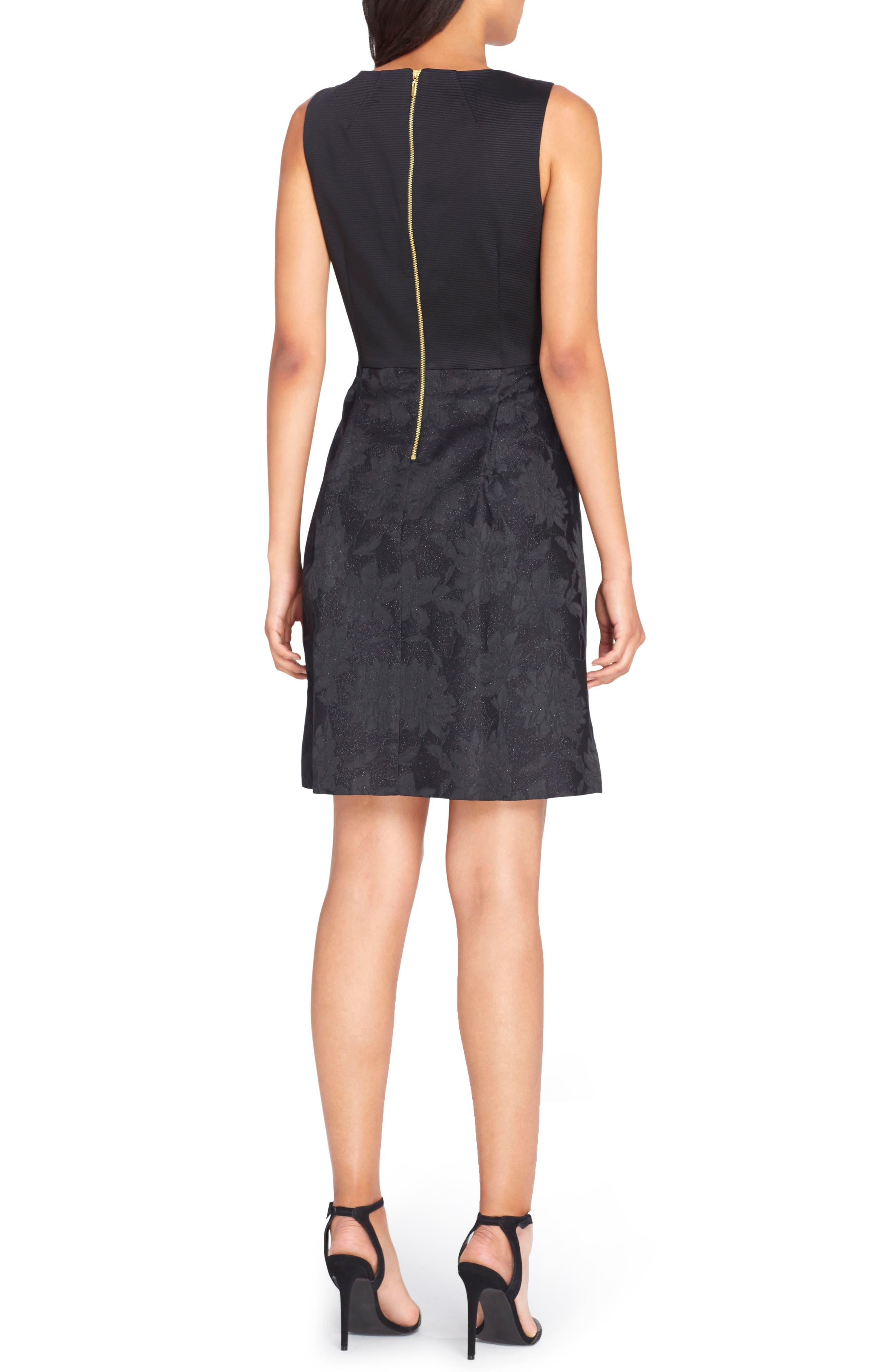 Bow Fit & Flare Dress,                             Alternate thumbnail 2, color,                             Black