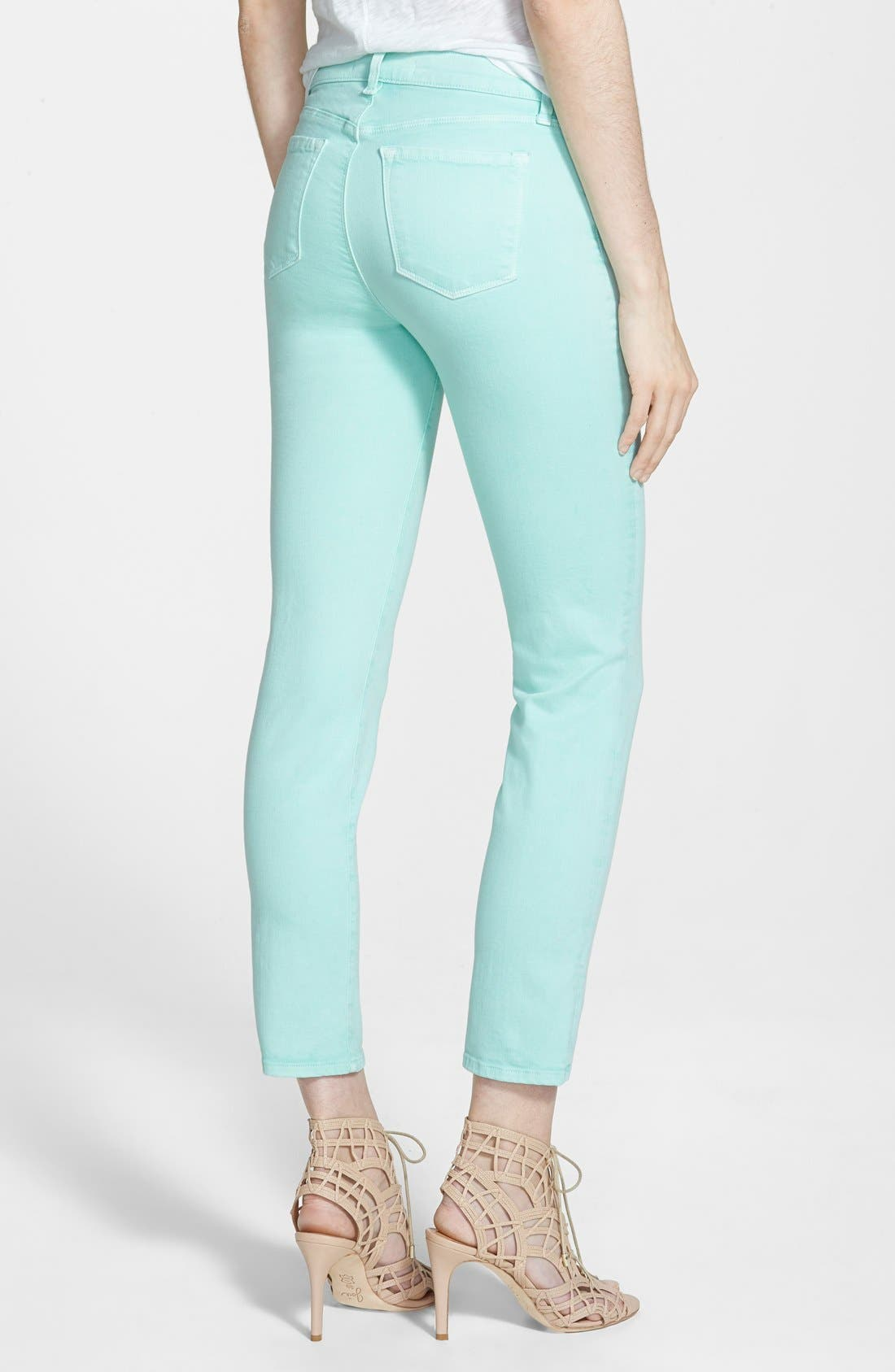 Alternate Image 2  - J Brand 'Rail' Mid Rise Super Skinny Jeans (Sea Green)