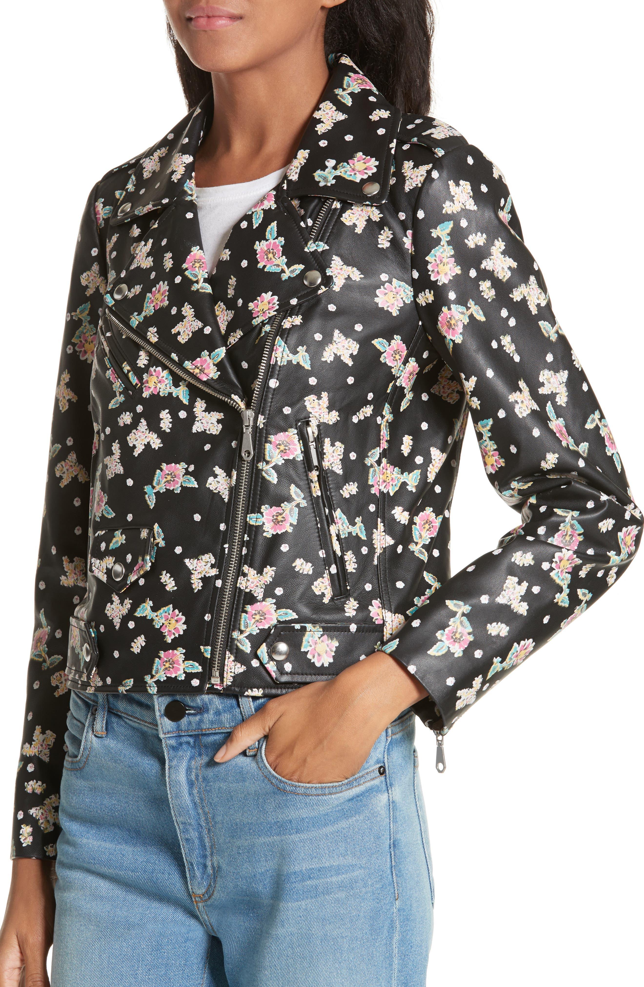 Wes Floral Leather Moto Jacket,                             Alternate thumbnail 4, color,                             Black Multi