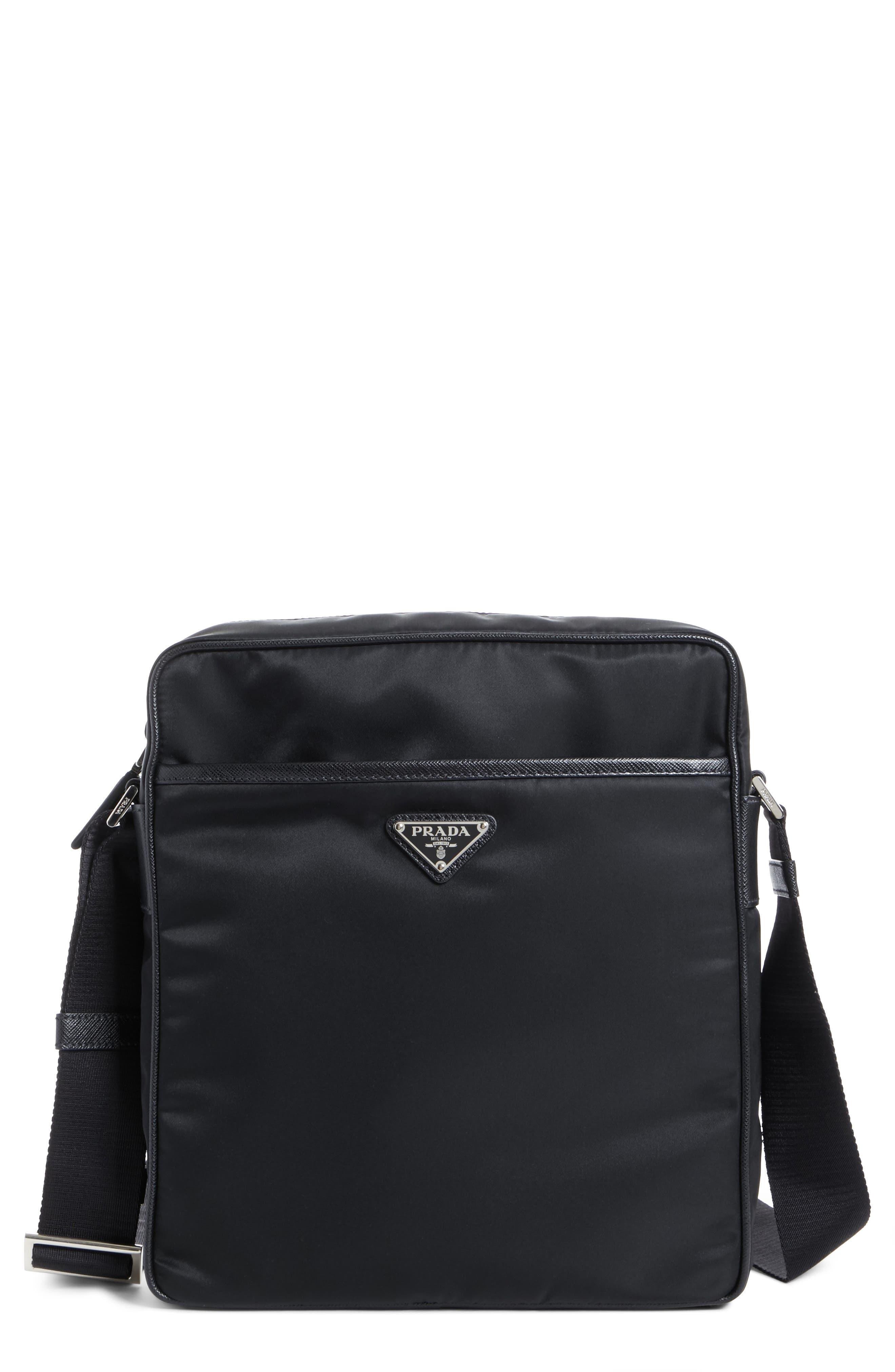 Saffiano Leather Crossbody Bag,                             Main thumbnail 1, color,                             Nero