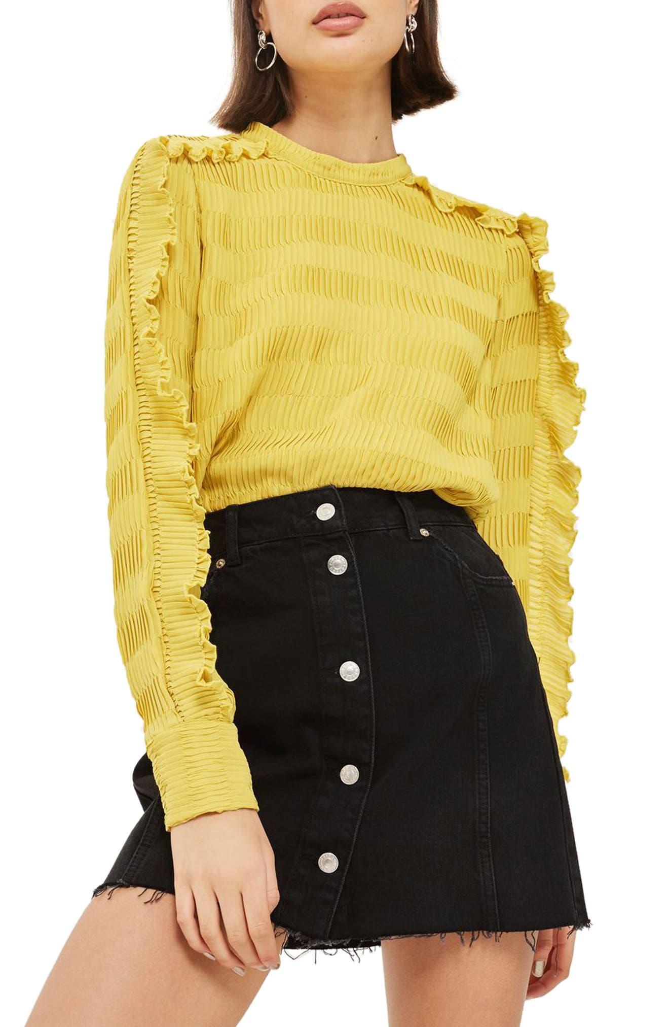 Topshop Button Denim Miniskirt