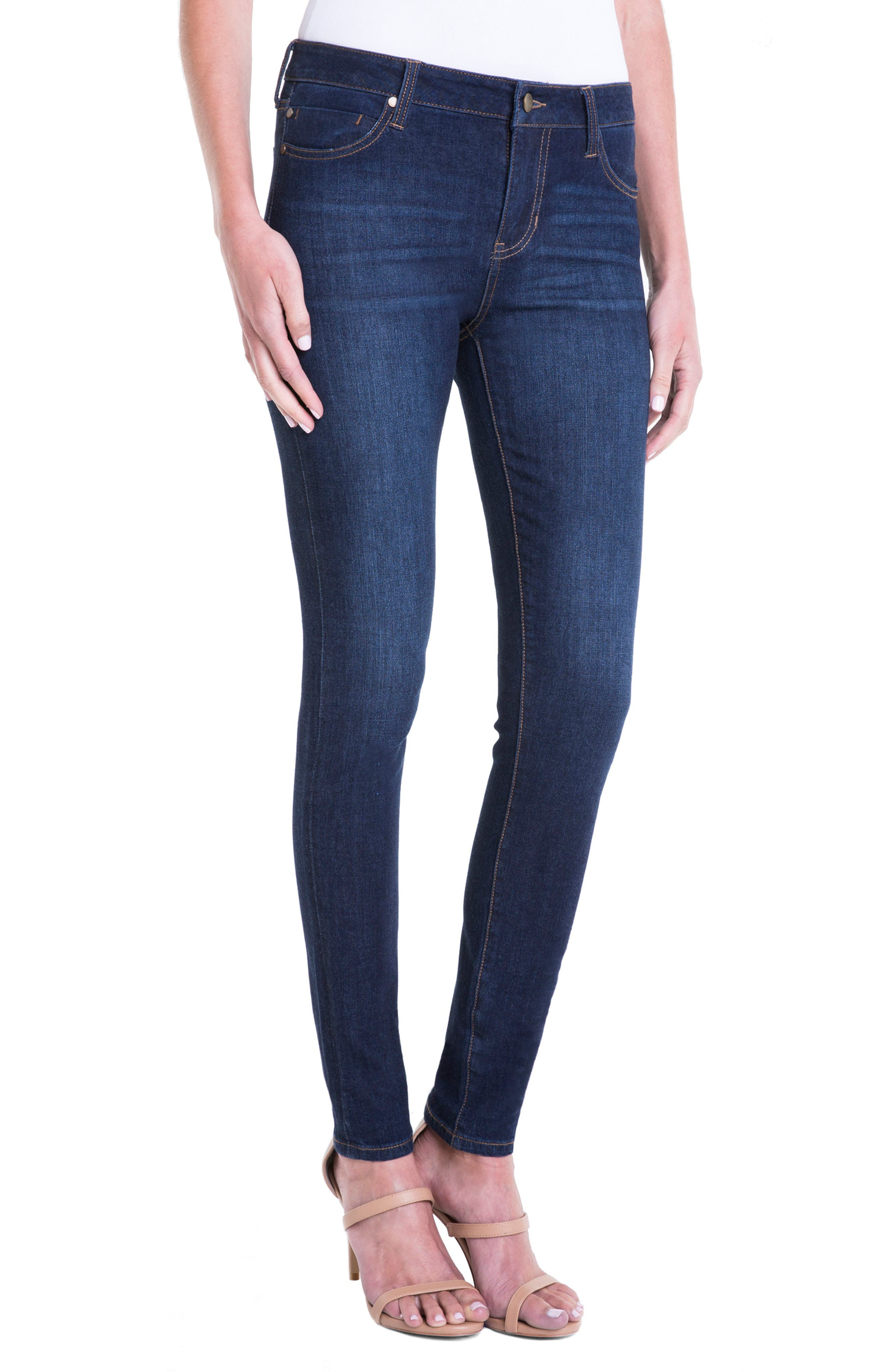 Abby Stretch Curvy Fit Skinny Jeans,                             Alternate thumbnail 3, color,                             Dark Blue