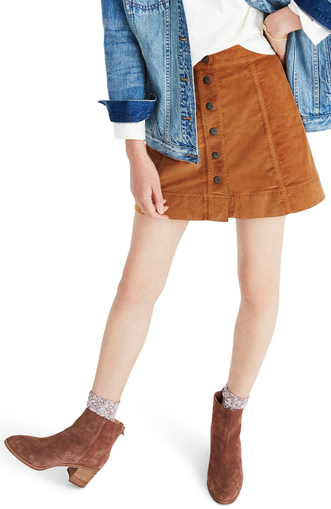 Madewell Velveteen Metropolis Snap Miniskirt