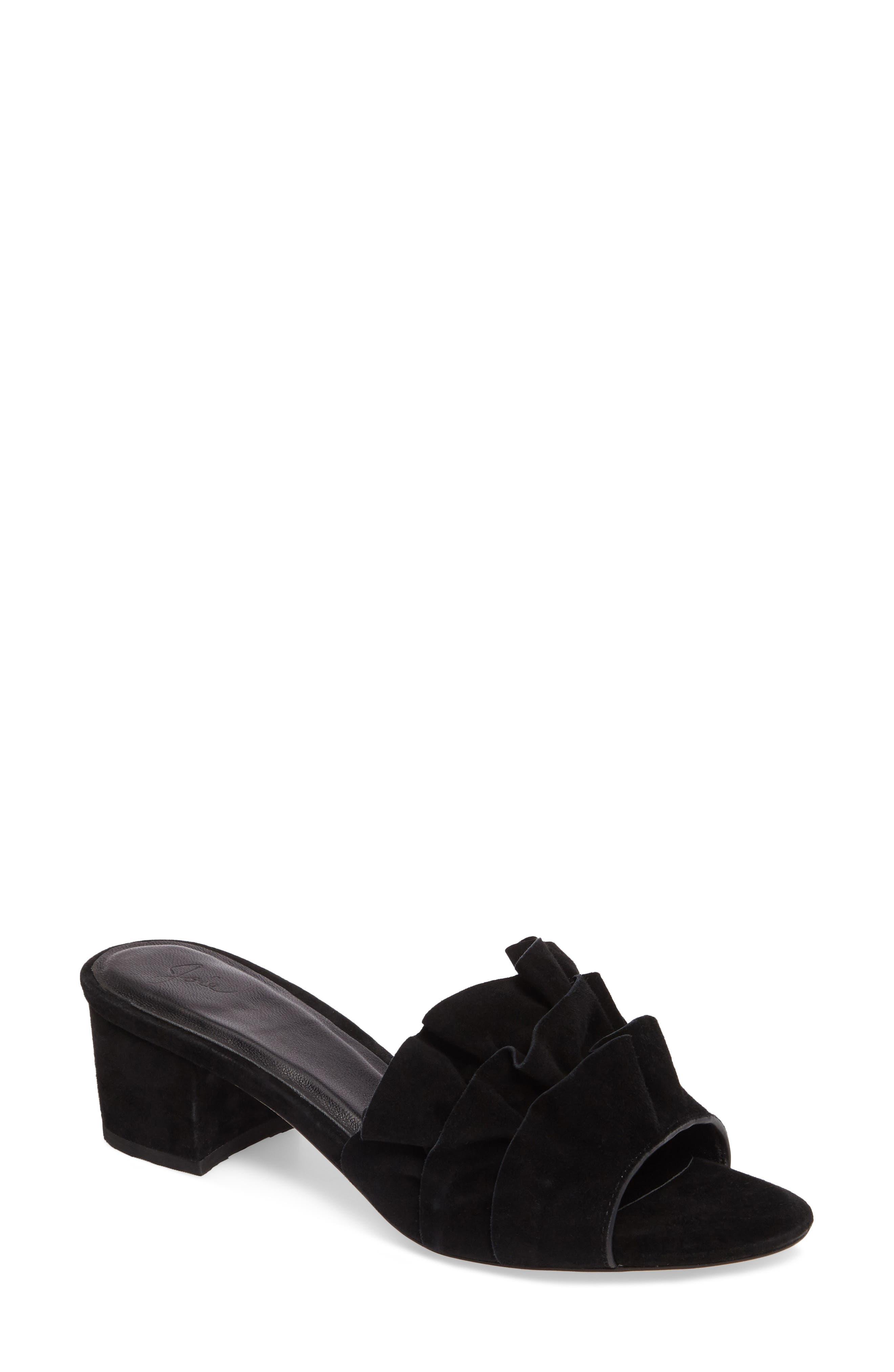 Mai Ruffle Slide Sandal,                             Main thumbnail 1, color,                             Black