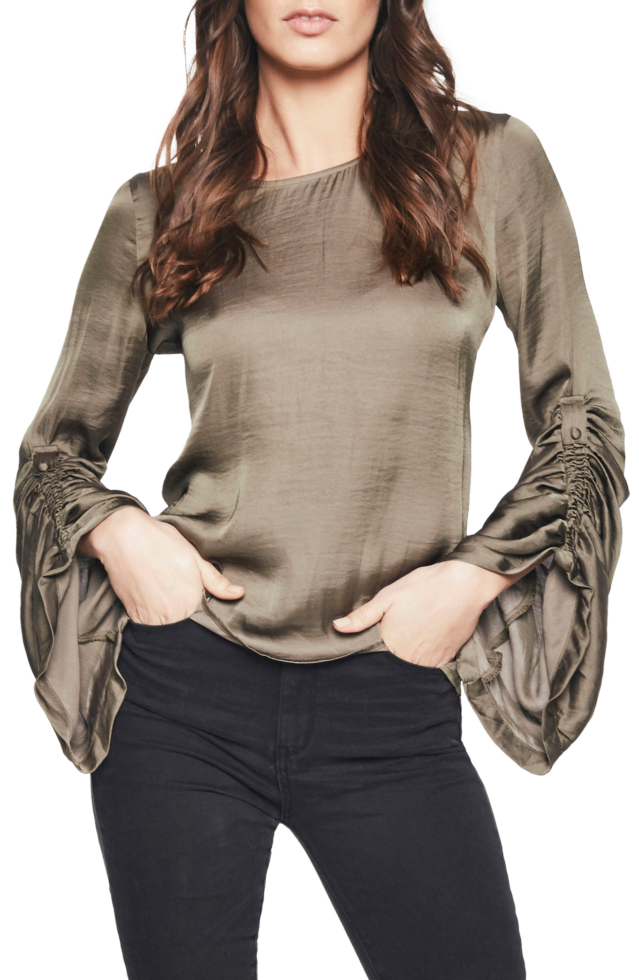 Lulu Ruched Sleeve Top,                             Main thumbnail 1, color,                             Khaki