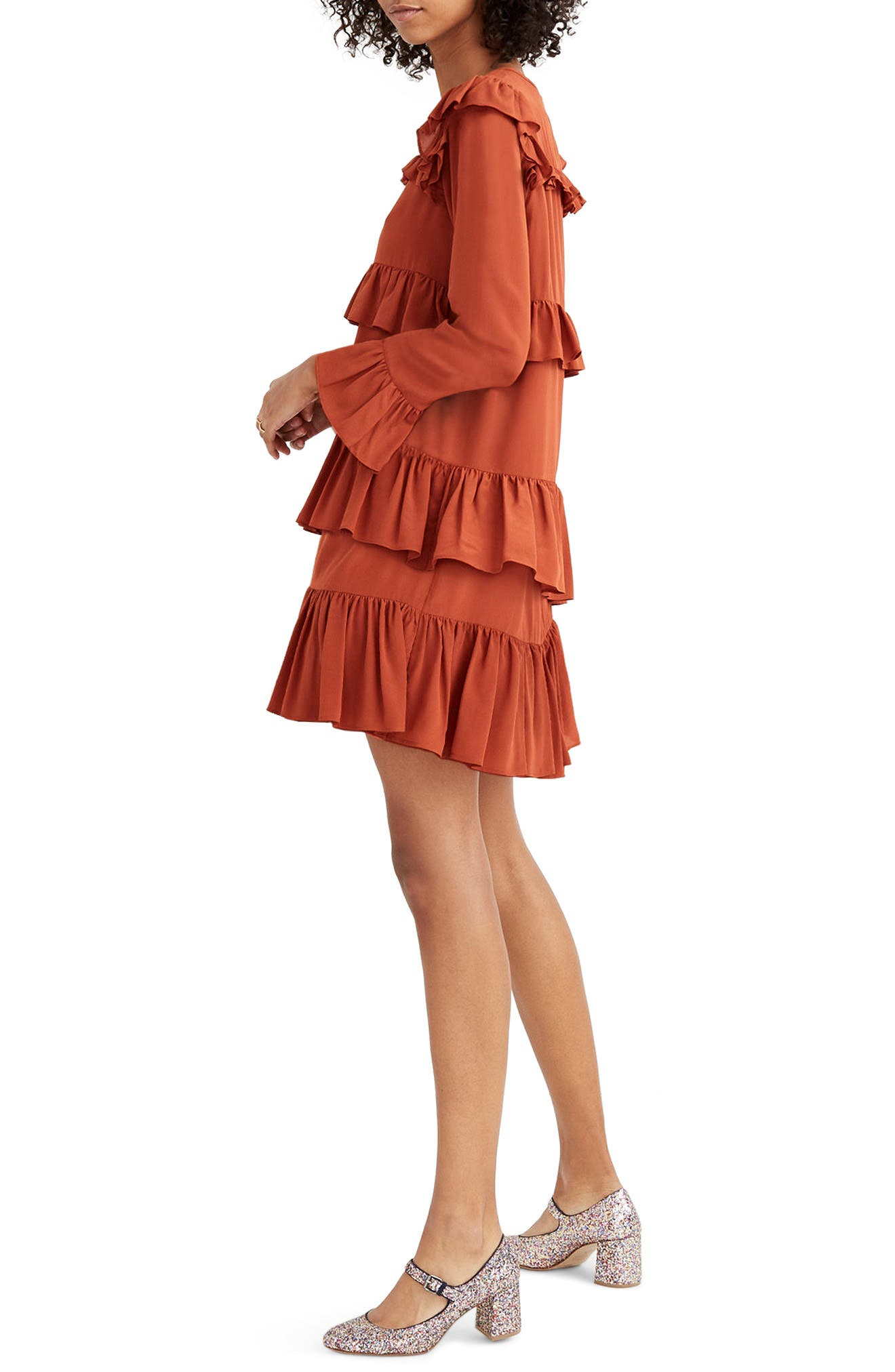 Waterlily Ruffle Dress,                             Alternate thumbnail 3, color,                             Burnished Rust