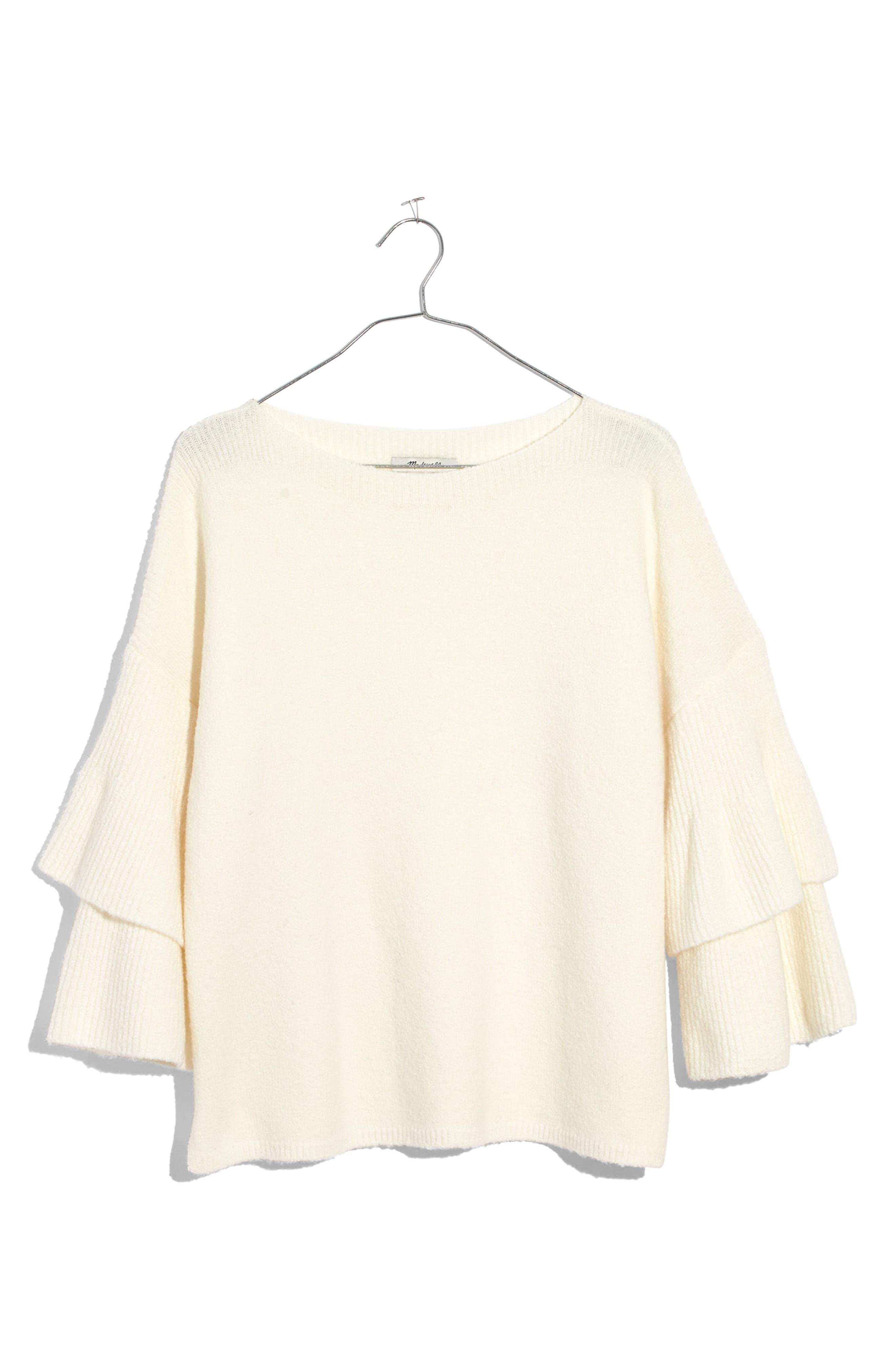 Tier Sleeve Sweater,                             Alternate thumbnail 6, color,                             Antique Cream