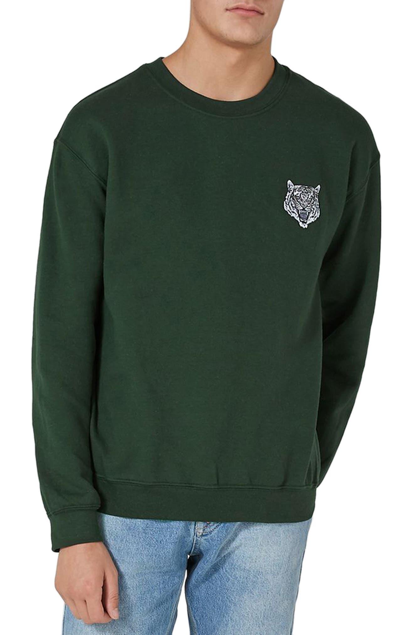 Tiger Patch Sweatshirt,                         Main,                         color, Olive