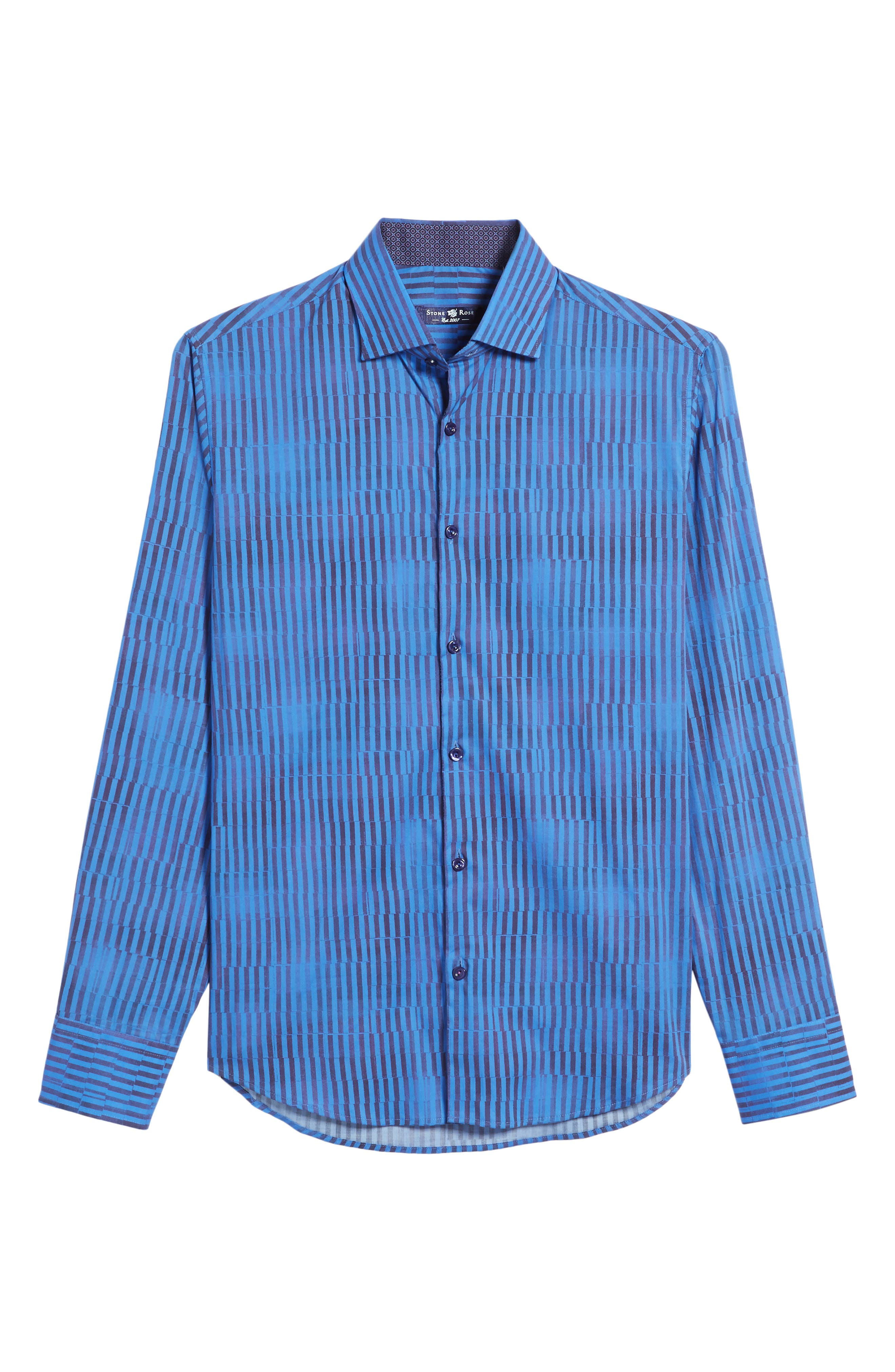 Bold FX Stripe Print Sport Shirt,                             Alternate thumbnail 6, color,                             Electric Blue