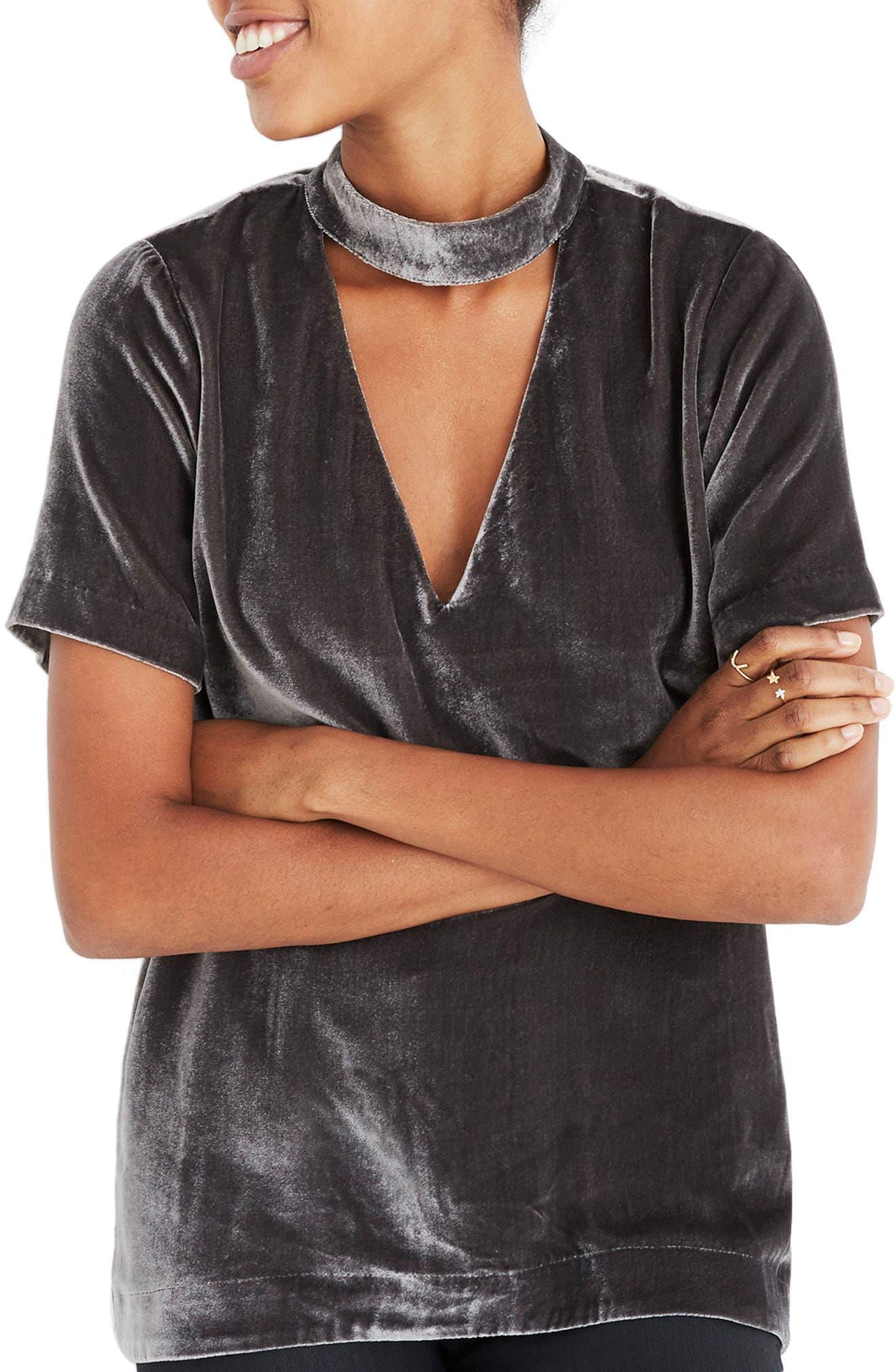 Madewell Choker Collar Velvet Tee