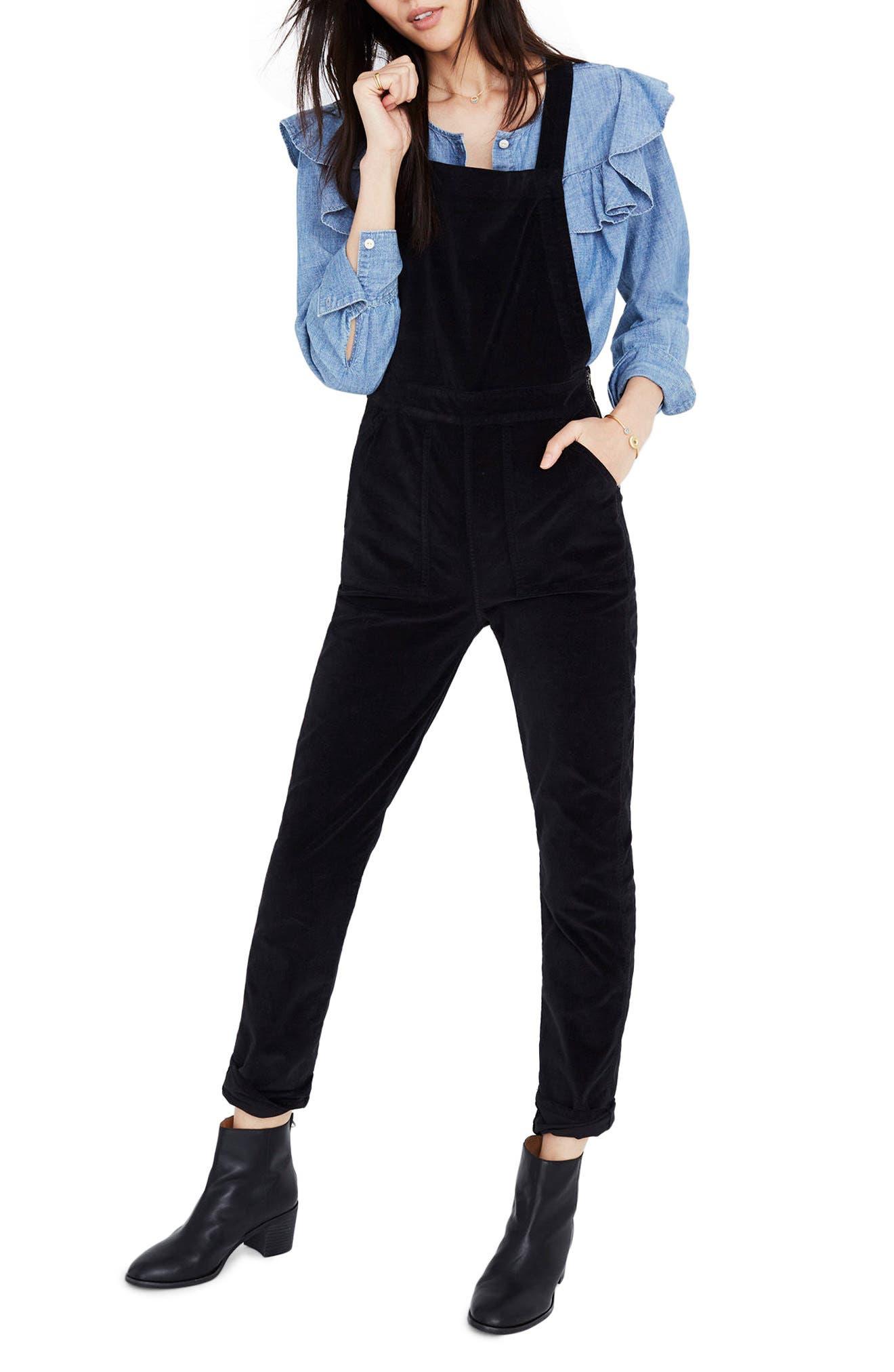 Velvet Overalls,                         Main,                         color, True Black