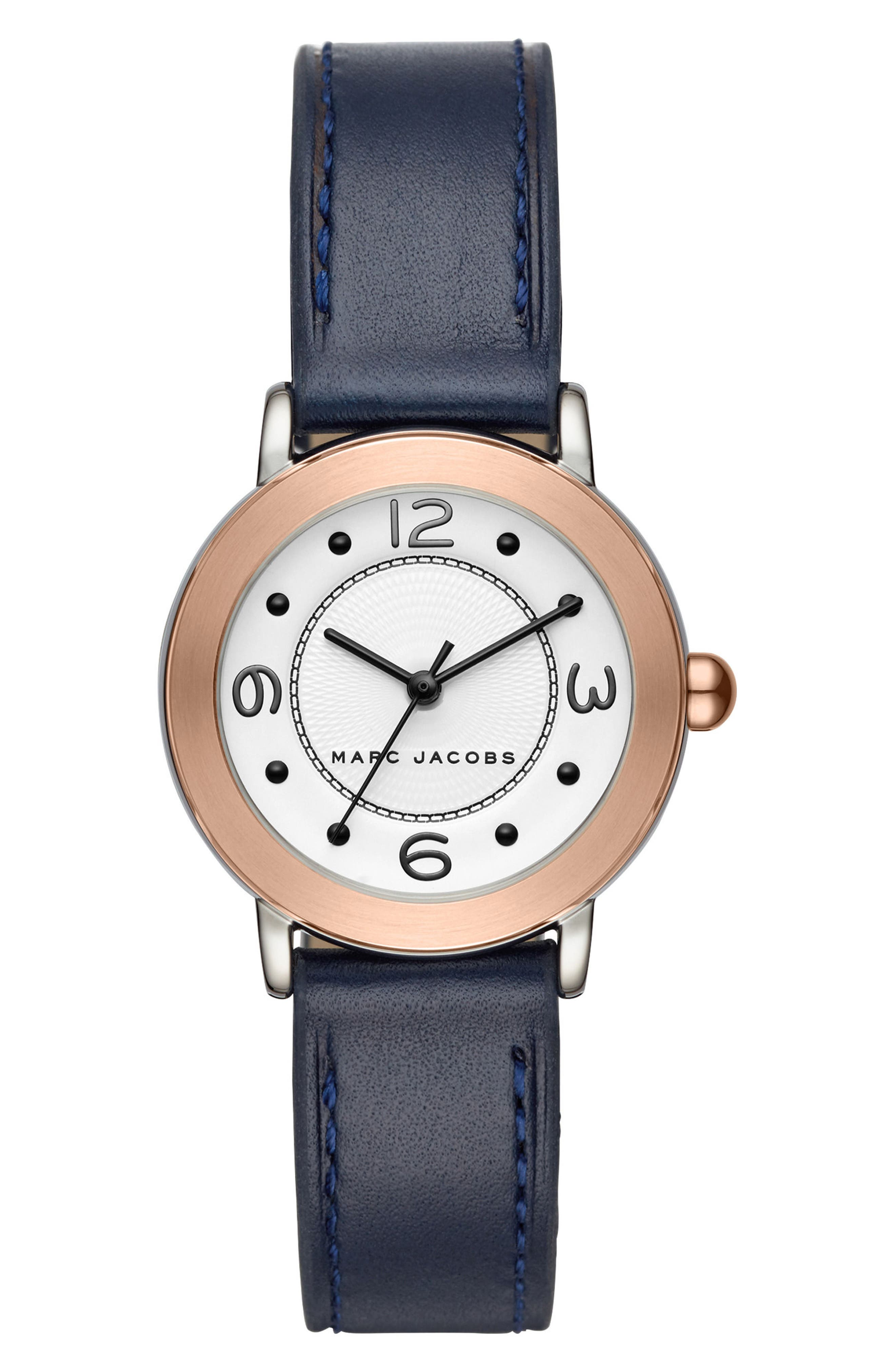 Riley Leather Strap Watch, 28mm,                             Main thumbnail 1, color,                             Blue/ White/ Rose Gold