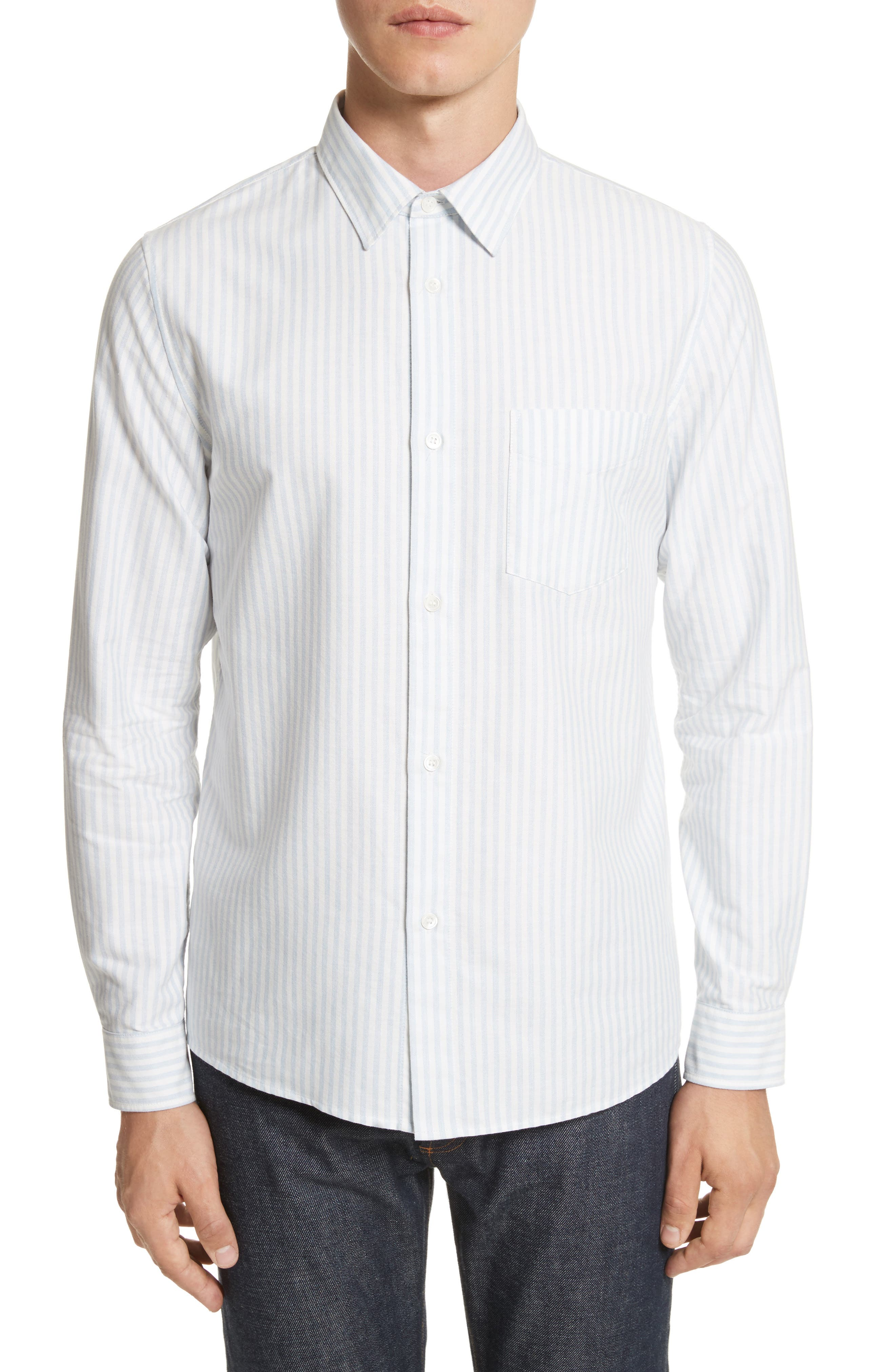 Oliver Stripe Oxford Shirt,                             Main thumbnail 1, color,                             Blue
