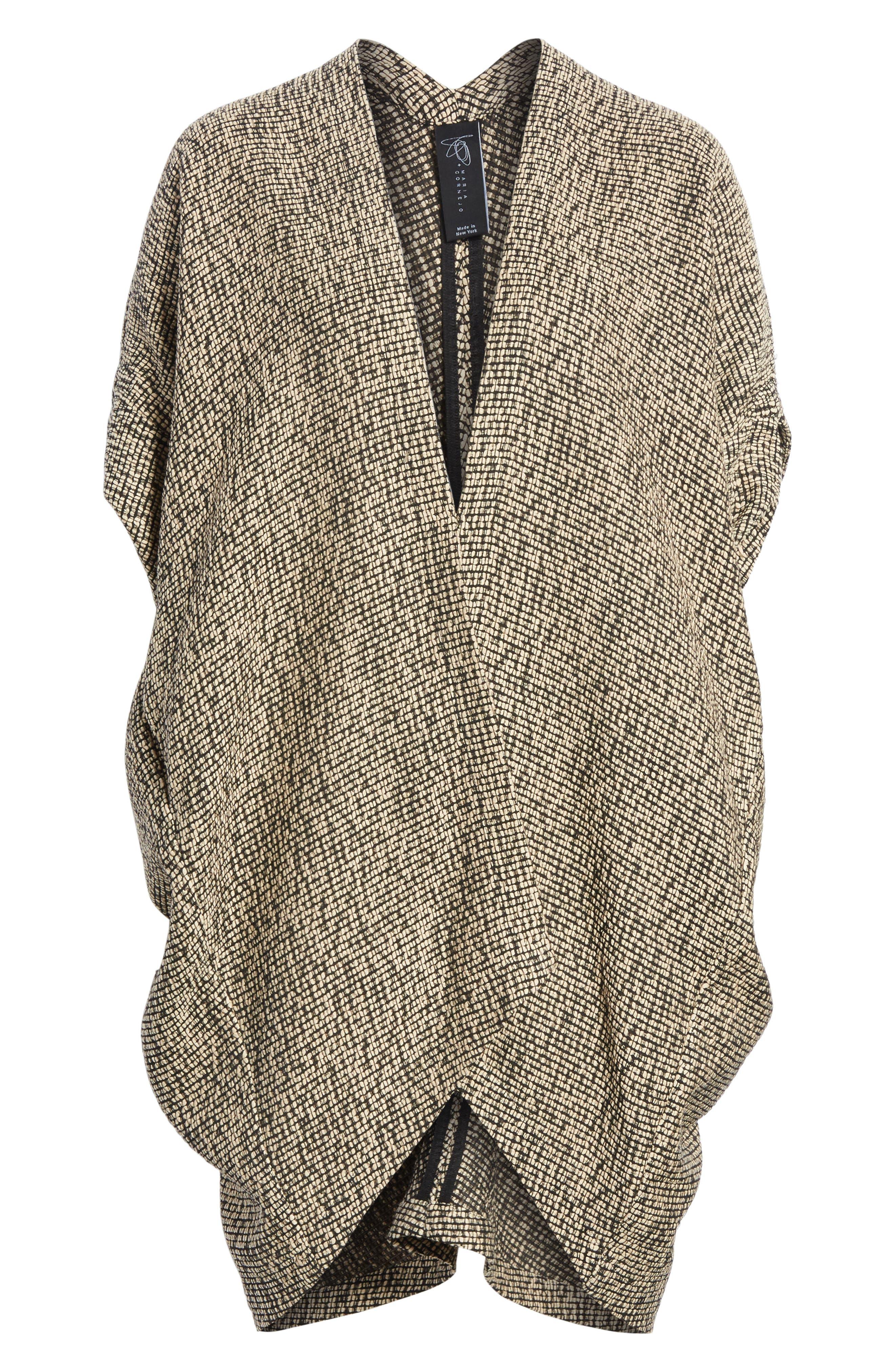 Open Weave Sweater,                             Alternate thumbnail 6, color,                             Black/Greige