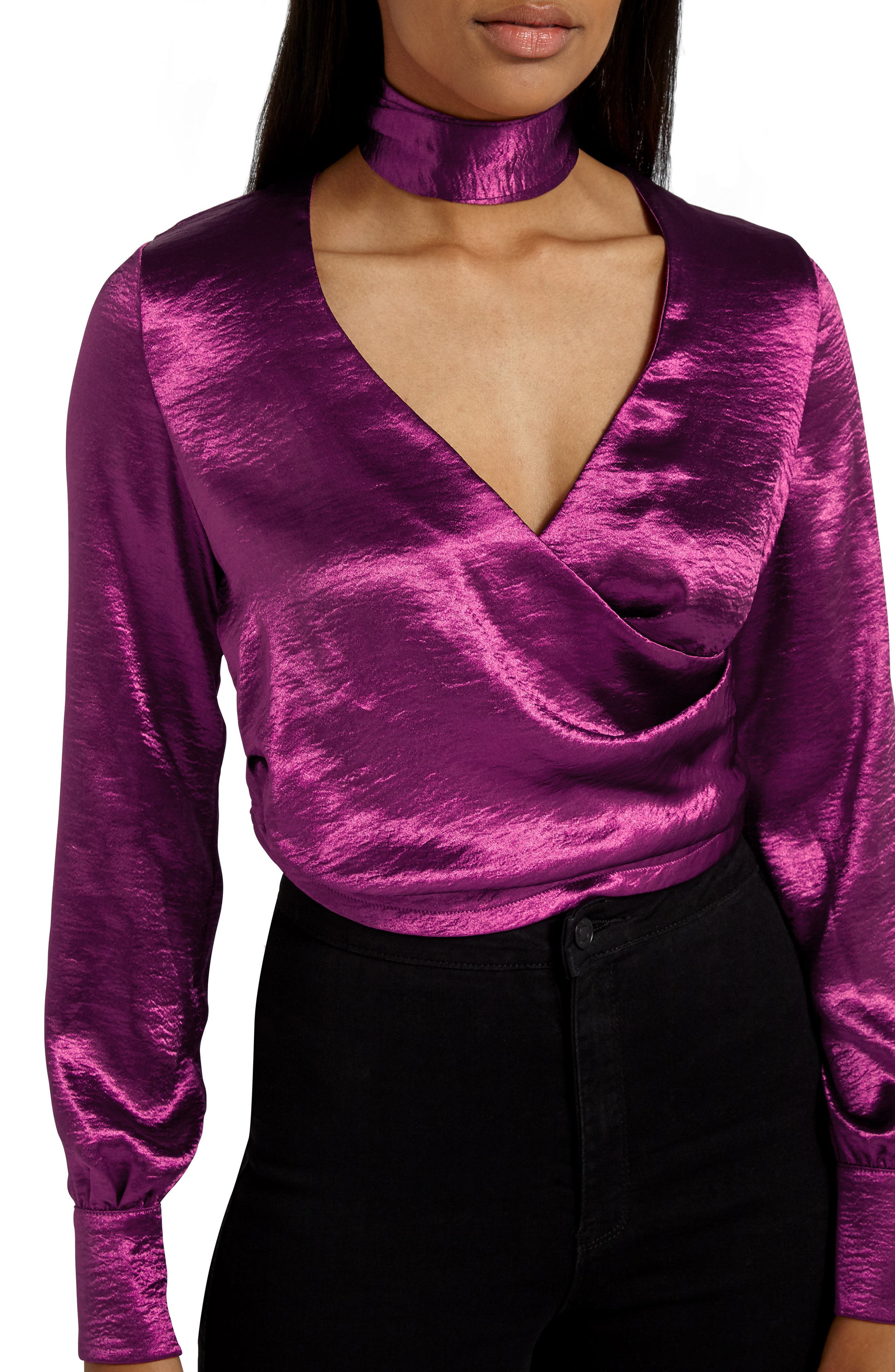 Alternate Image 2  - Missguided Choker Collar Faux Wrap Blouse