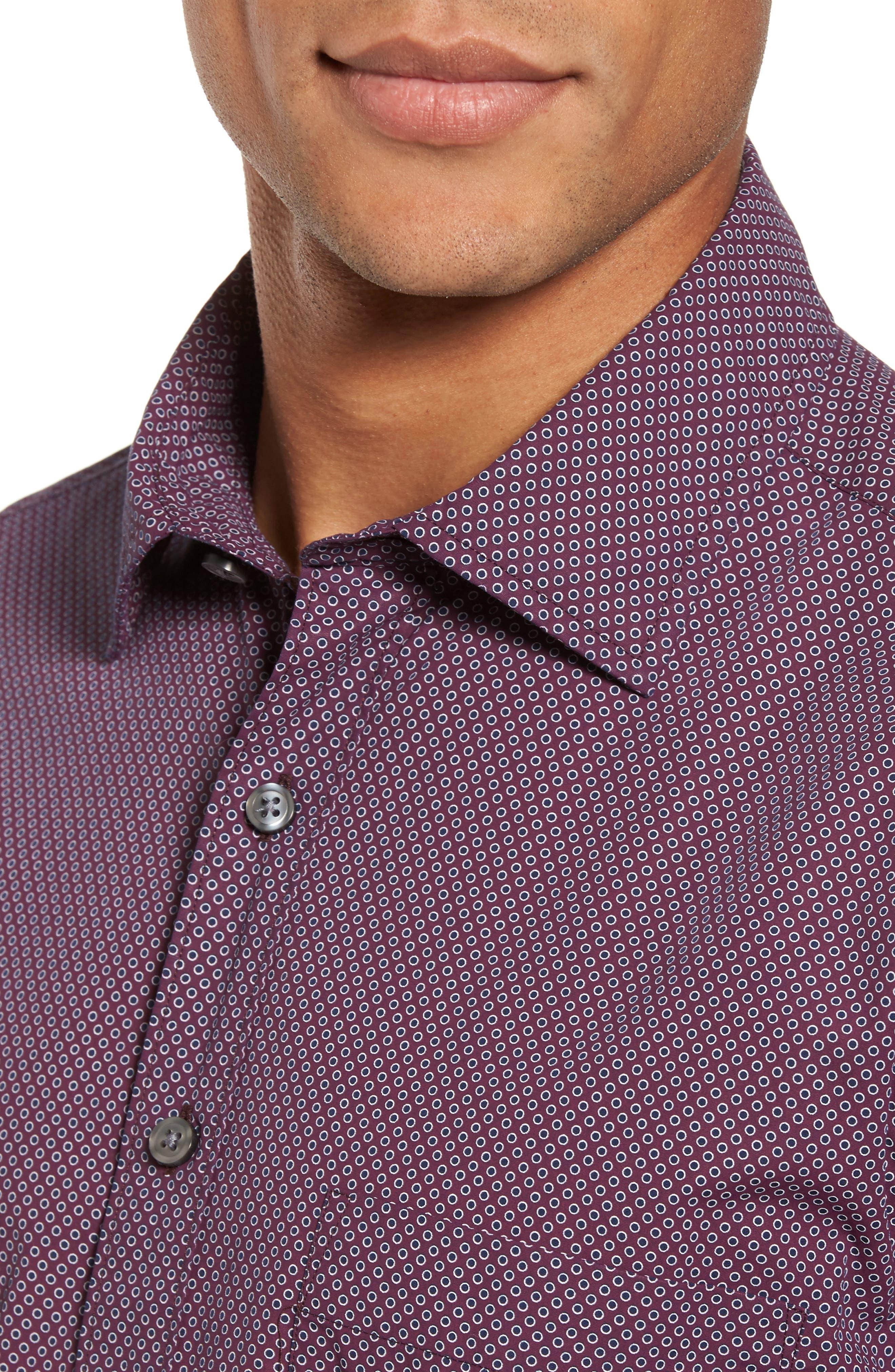 Ingleton Regular Fit Dot Sport Shirt,                             Alternate thumbnail 4, color,                             Merlot