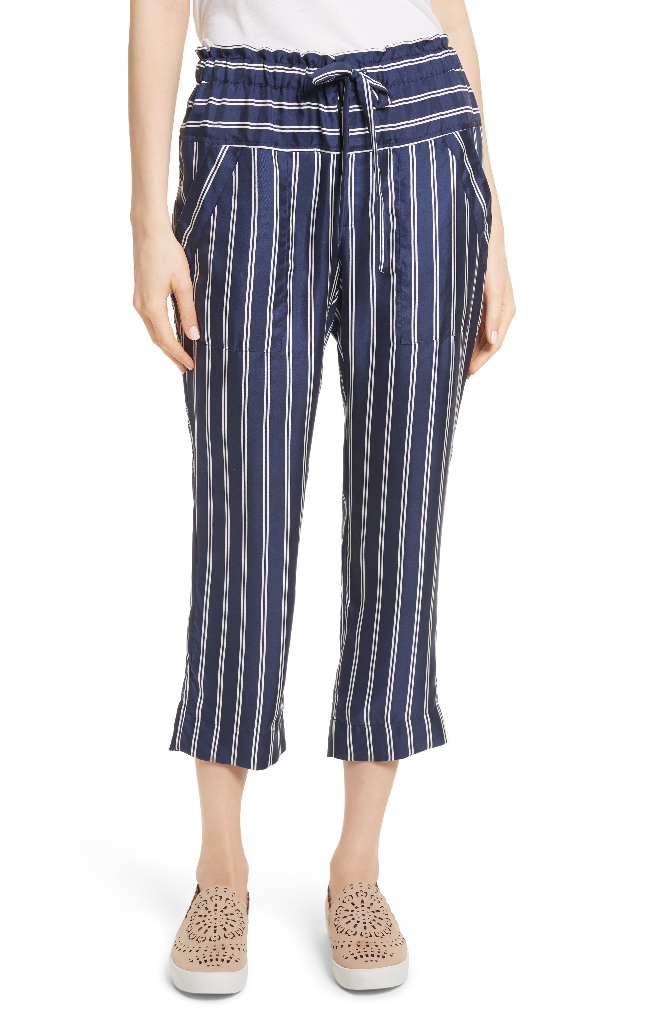 Addiena Stripe Silk Pants,                         Main,                         color, Dark Navy