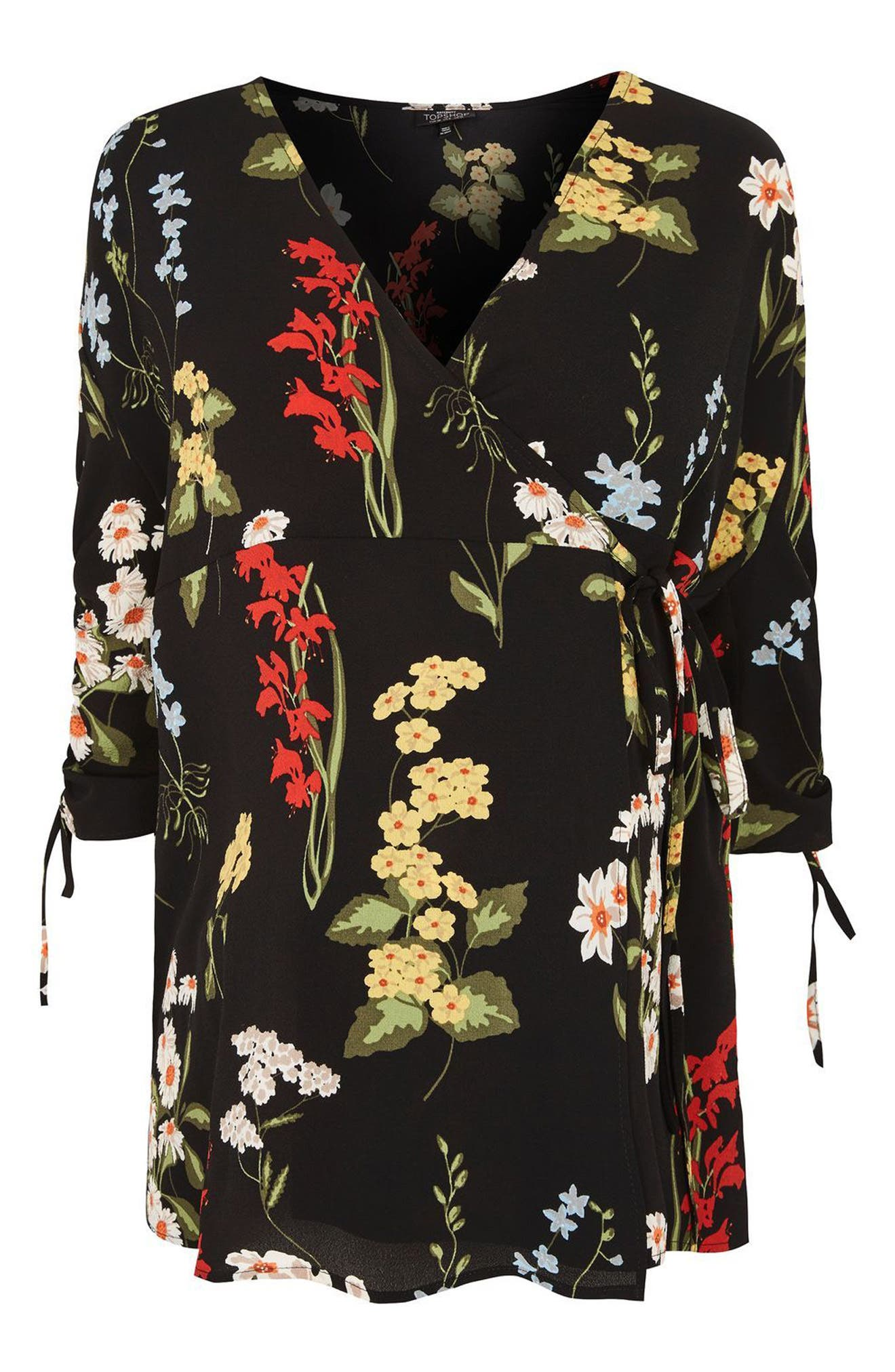Alternate Image 4  - Topshop Floral Ruched Sleeve Wrap Maternity Blouse