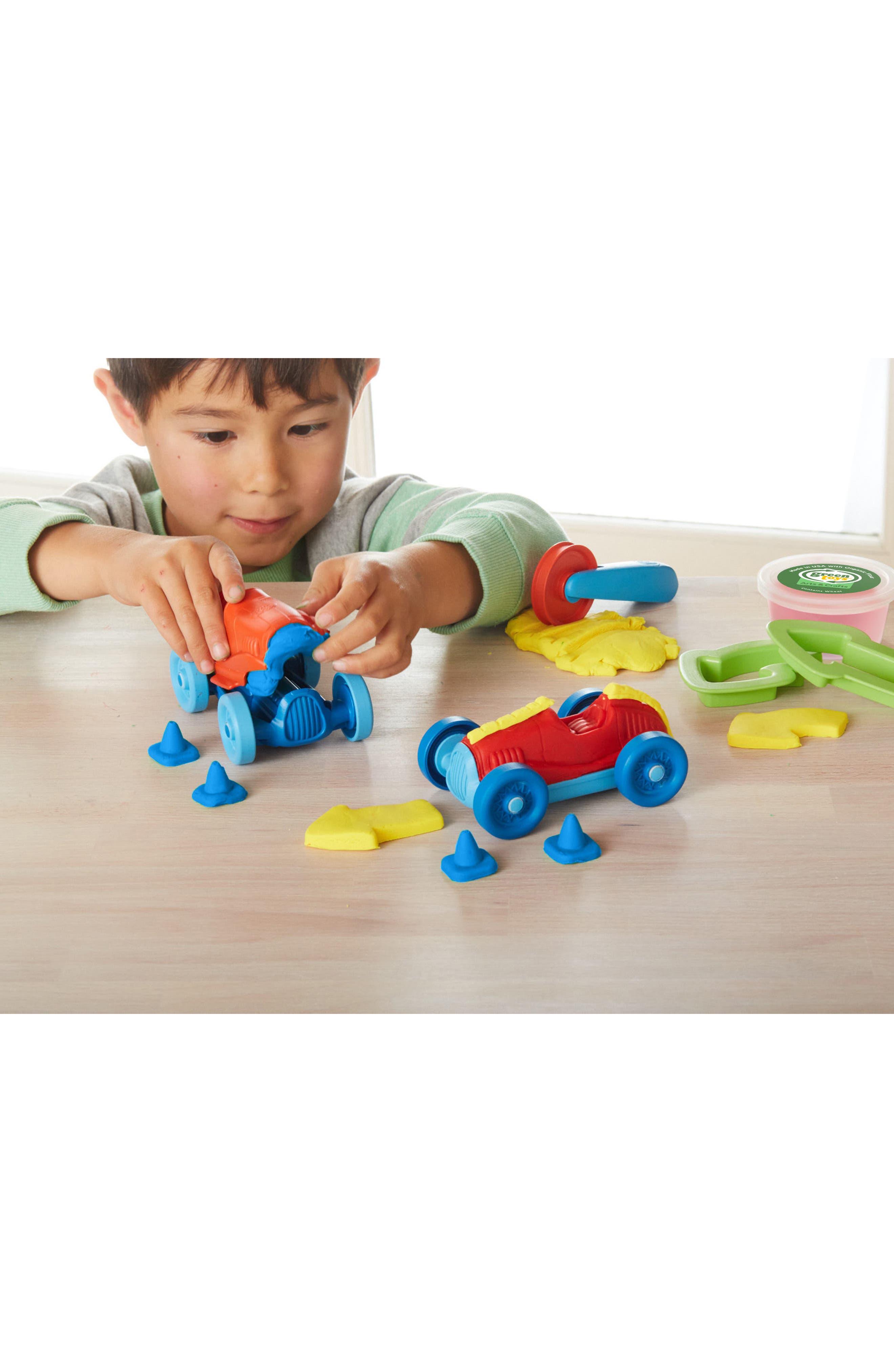 Alternate Image 2  - Green Toys 12-Piece Plastic Racecar Maker Dough Set