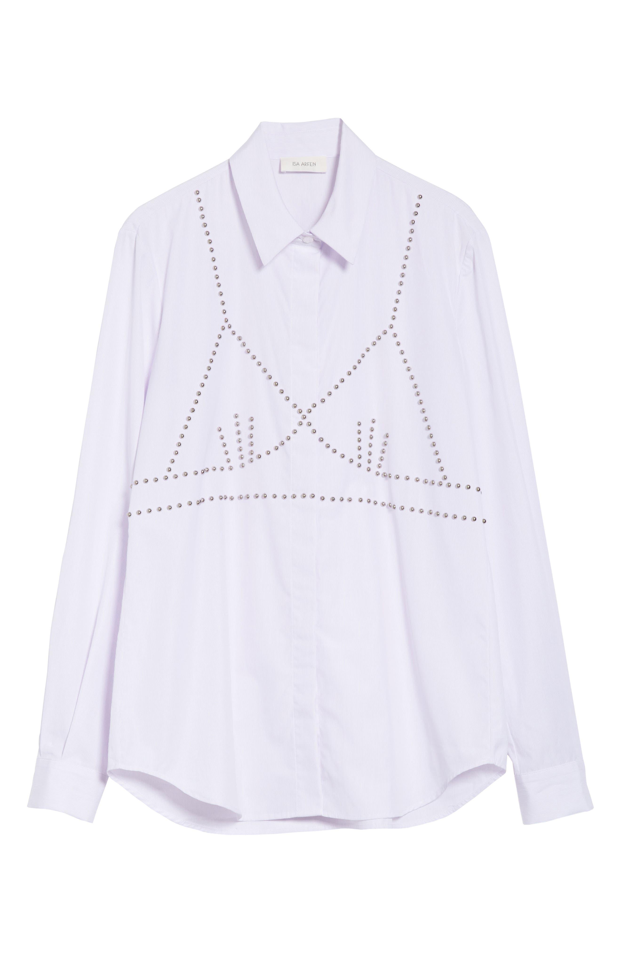Classic Studded Bra Shirt,                             Alternate thumbnail 7, color,                             Lilac/ White