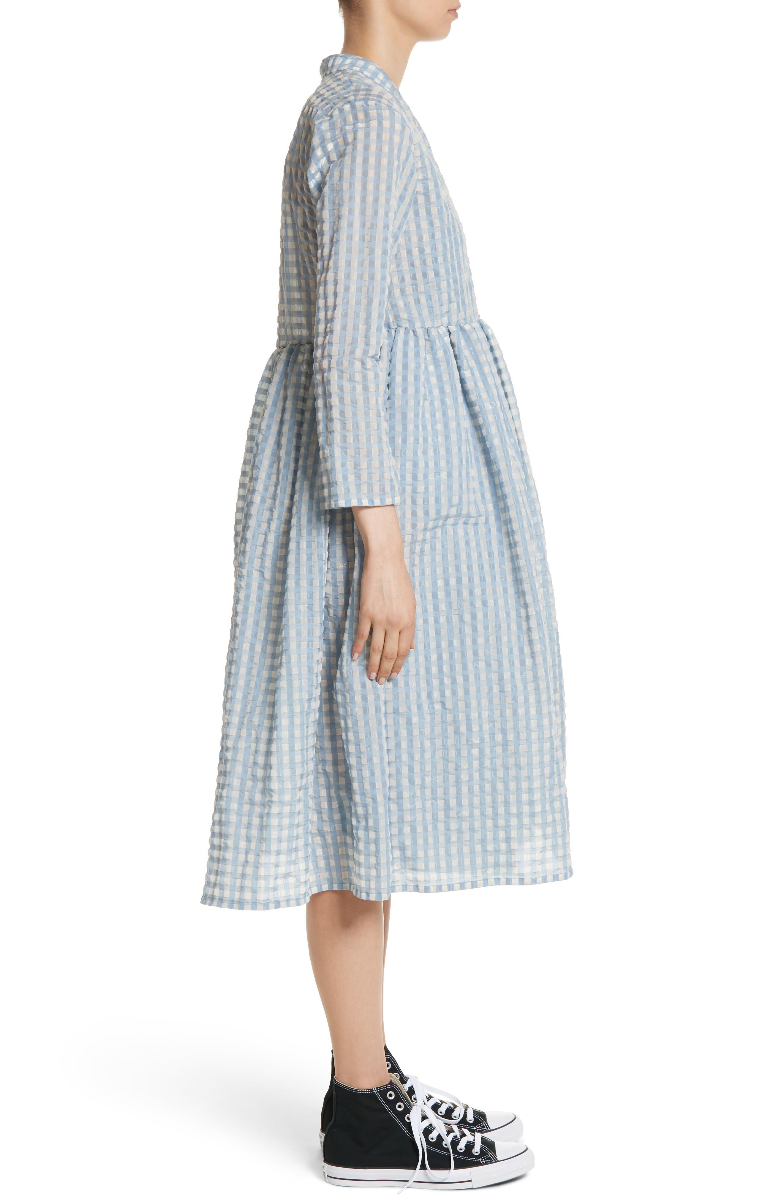 Hermione Gingham Seersucker Dress,                             Alternate thumbnail 3, color,                             Blue
