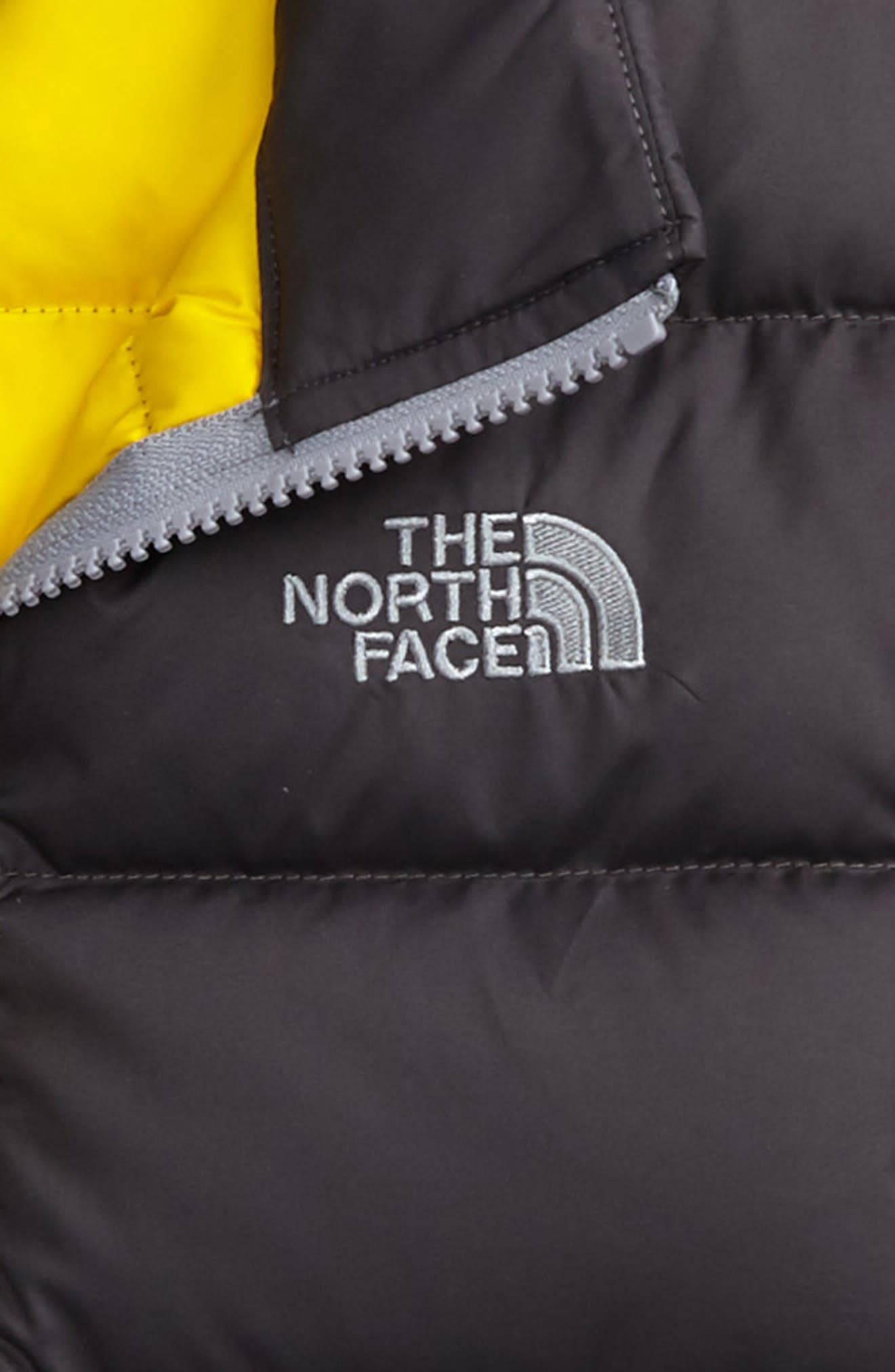 Andes Water Repellent 550-Fill Power Down Jacket,                             Alternate thumbnail 2, color,                             Graphite Grey/ Canary Yellow