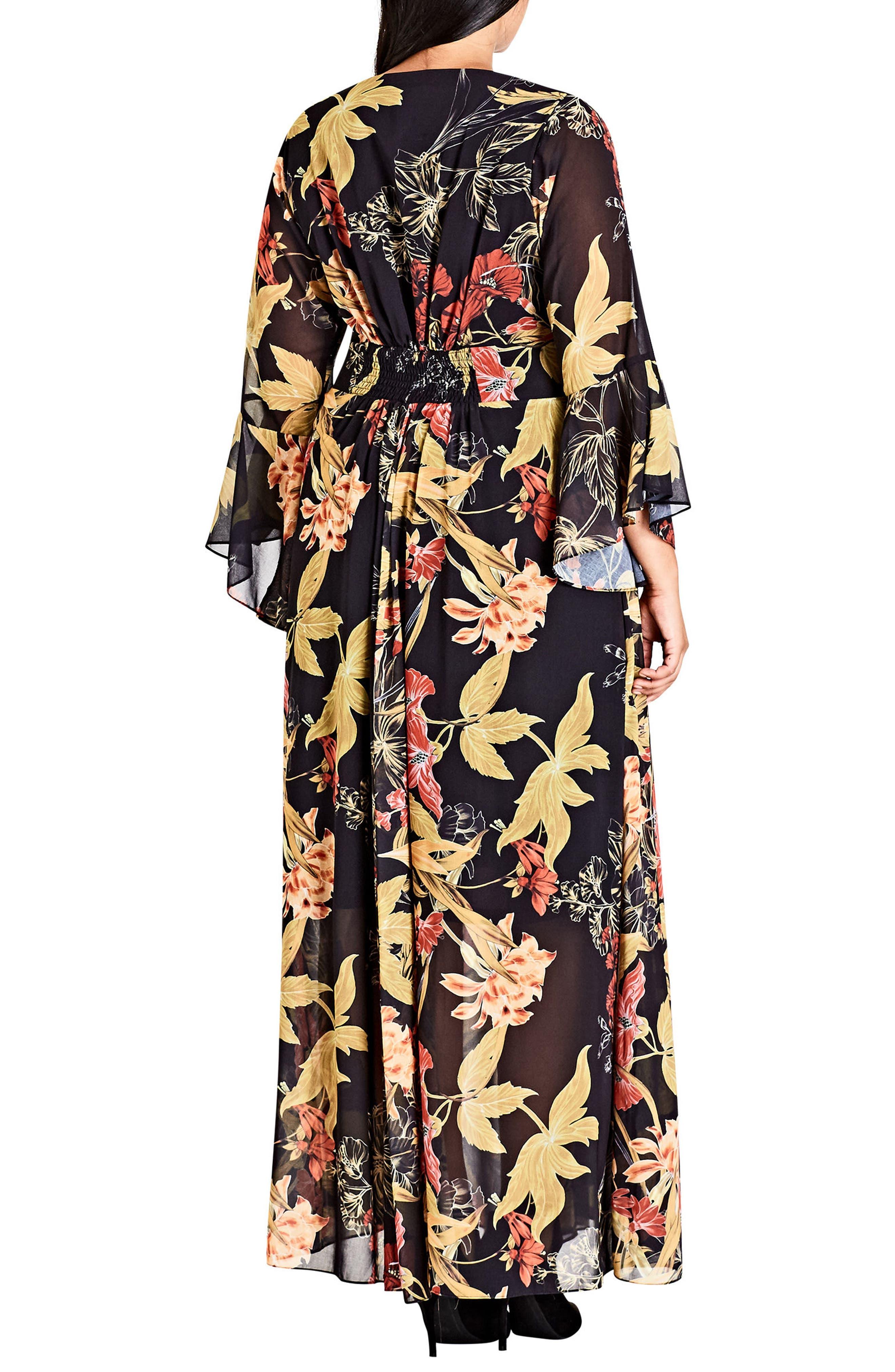 Gold Floral Maxi Dress,                             Alternate thumbnail 2, color,                             Oriental Gold