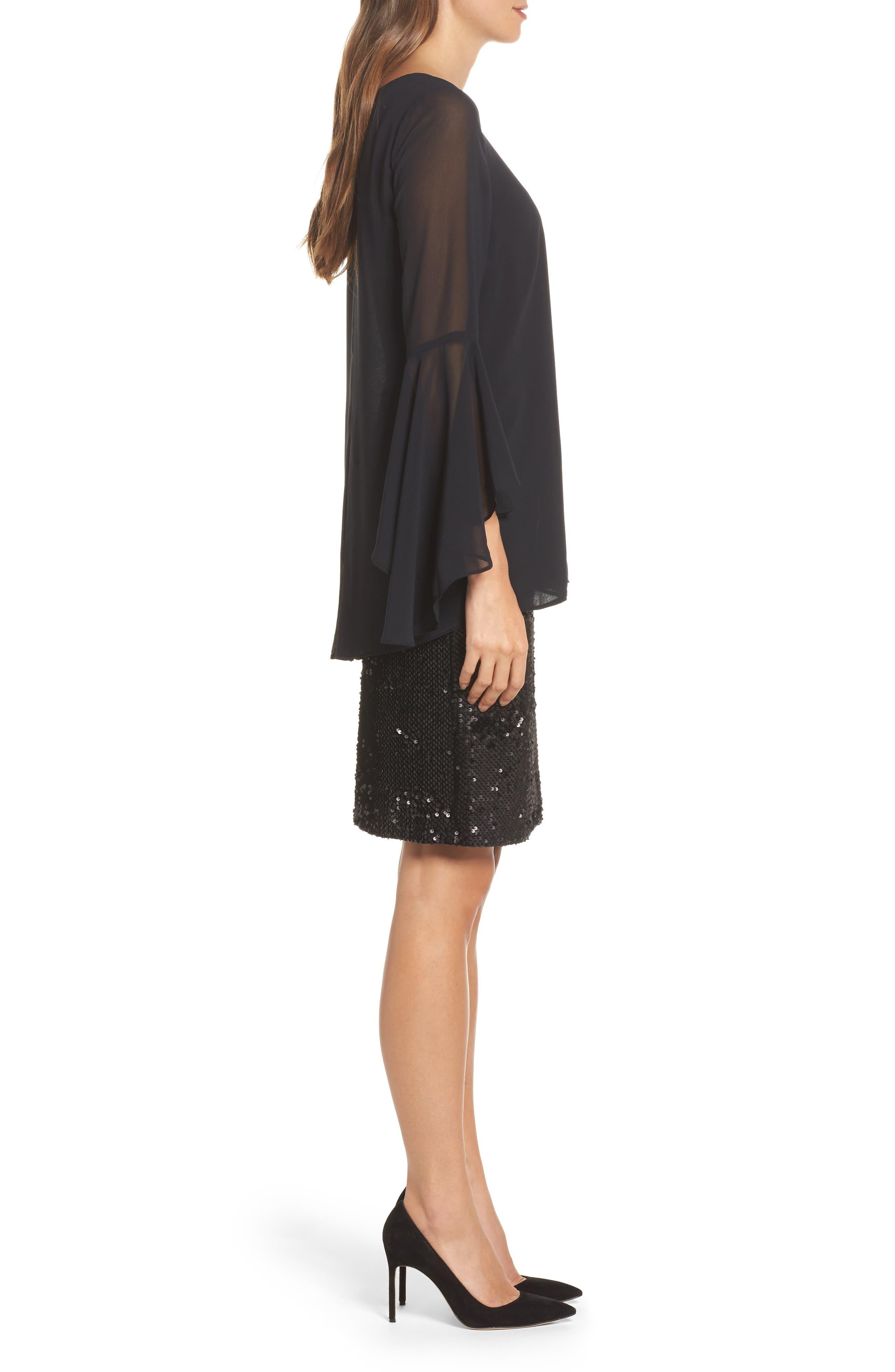 Sequin Chiffon Dress,                             Alternate thumbnail 3, color,                             Black Onyx