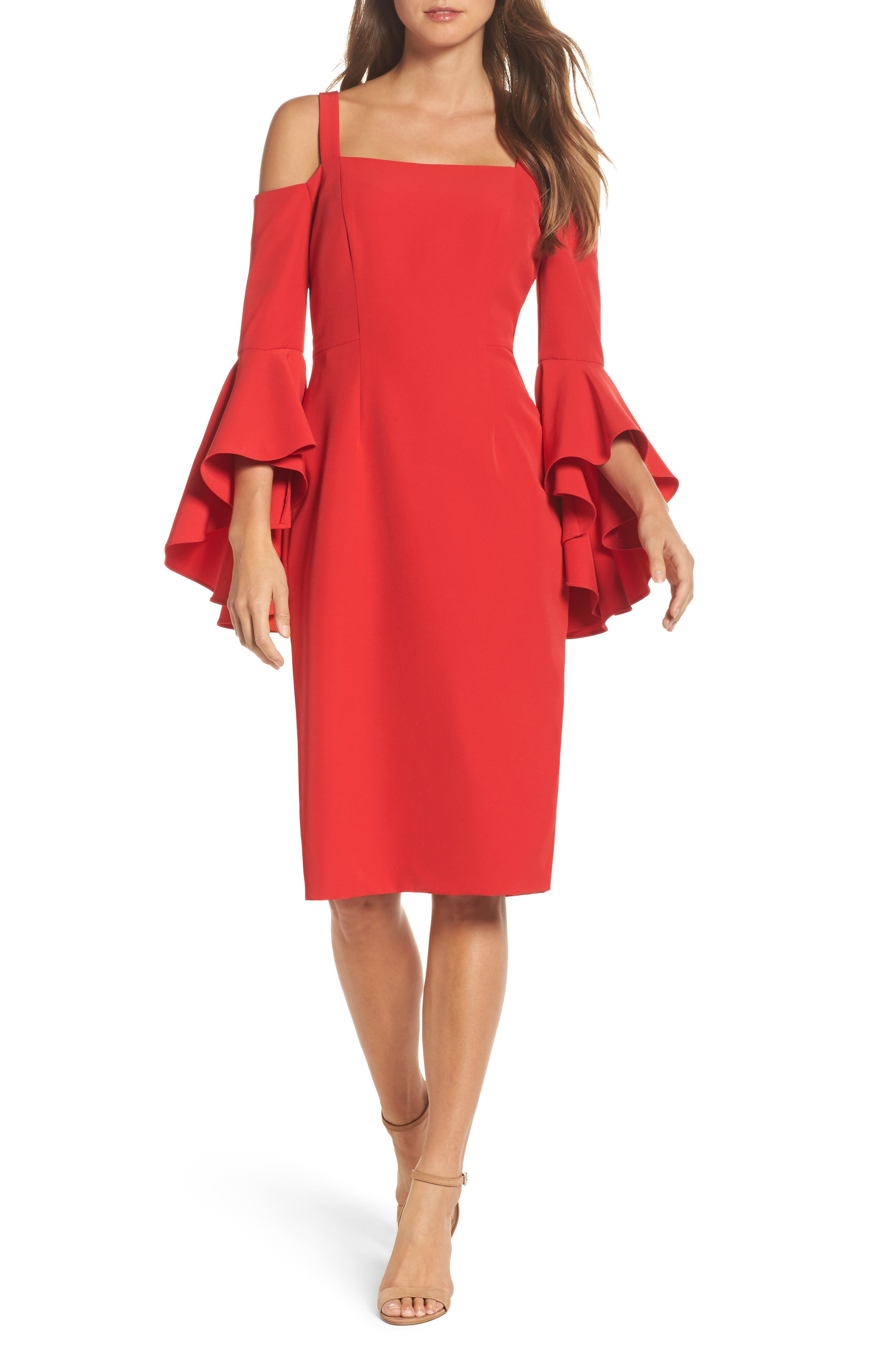 Cold Shoulder Crepe Sheath Dress,                         Main,                         color, Rose Trellis