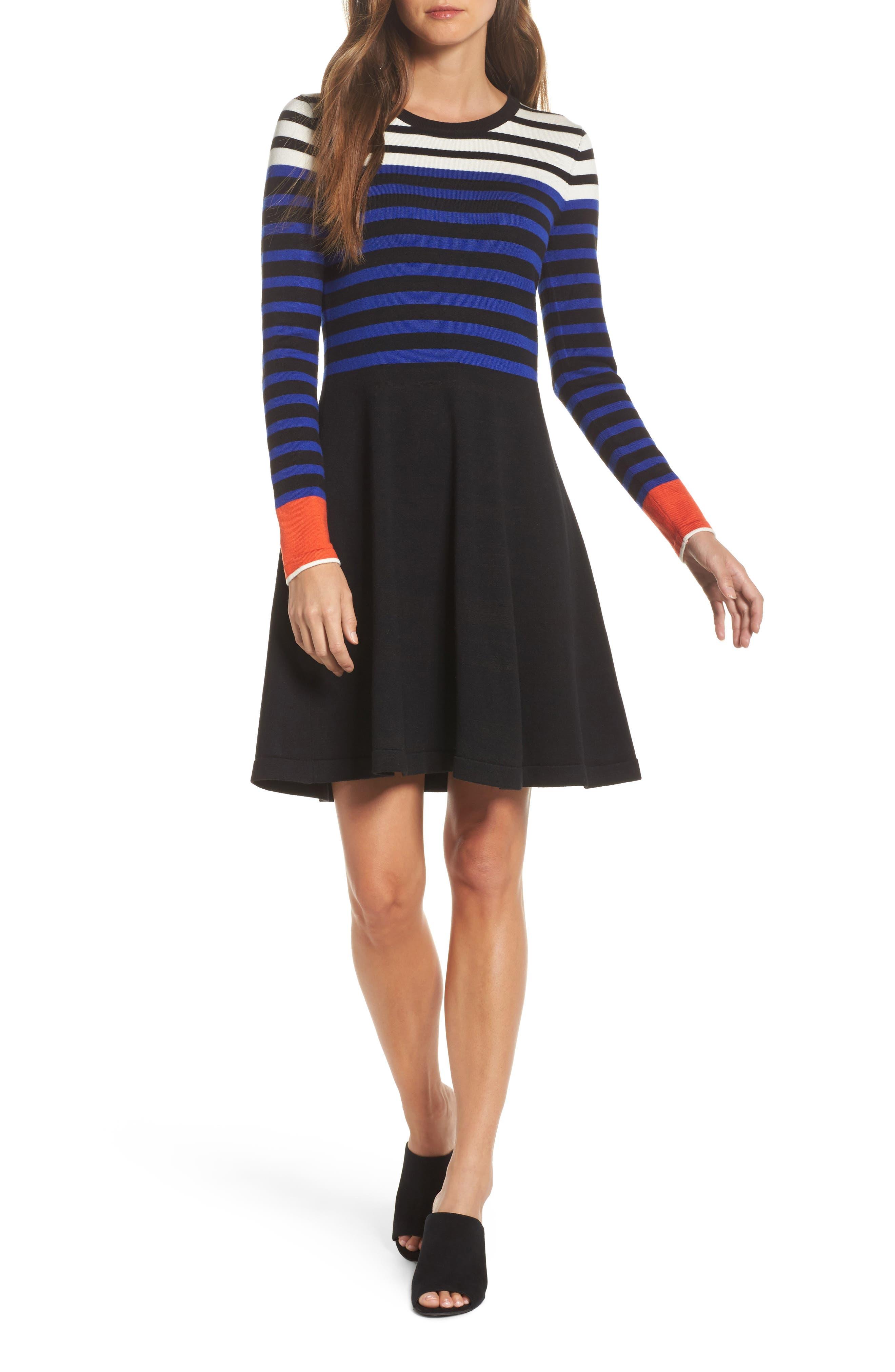 Stripe Sweater Fit & Flare Dress,                             Main thumbnail 1, color,                             Black