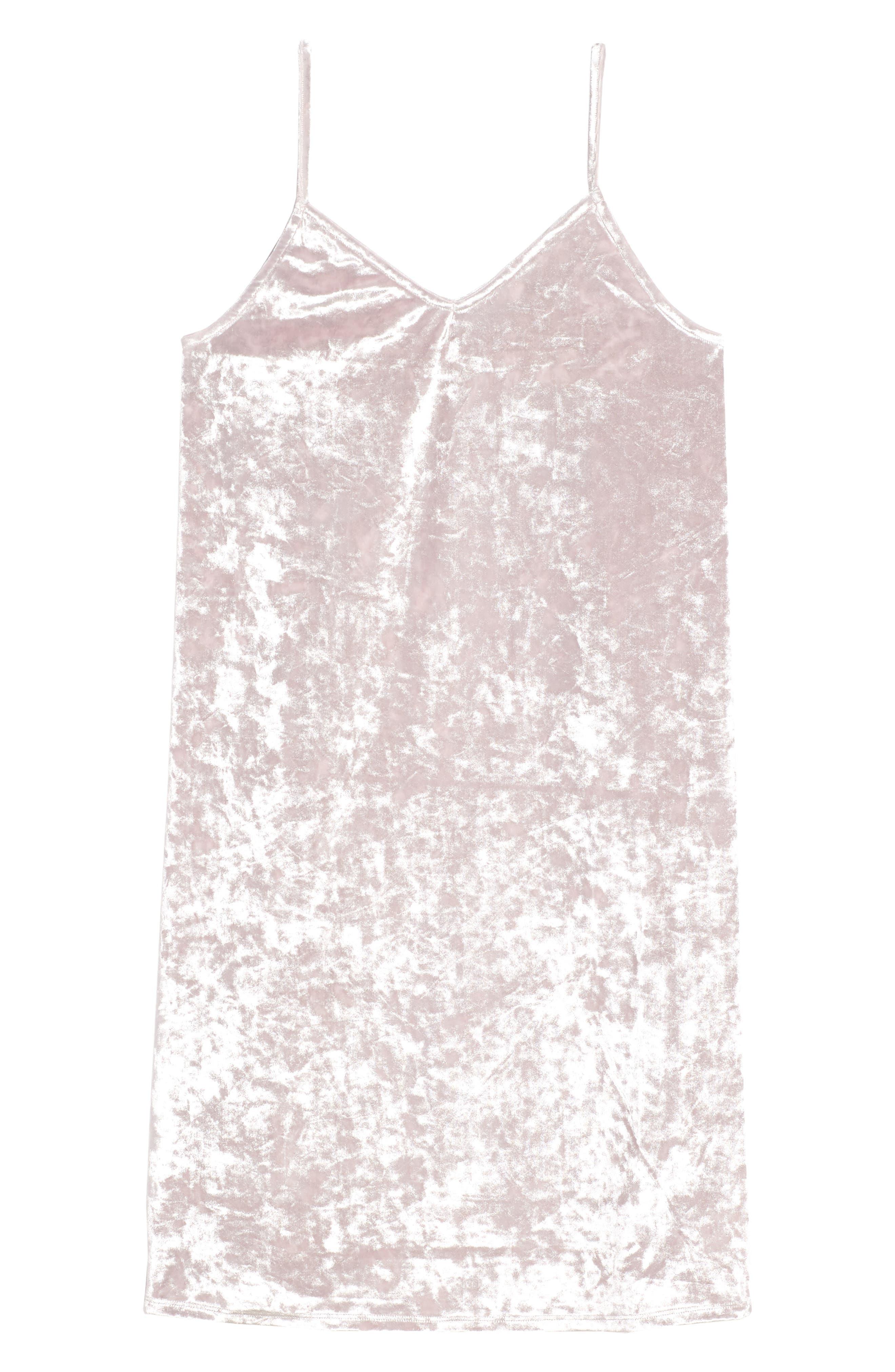 Crushed Velvet Cami Dress,                         Main,                         color, Pink Antique