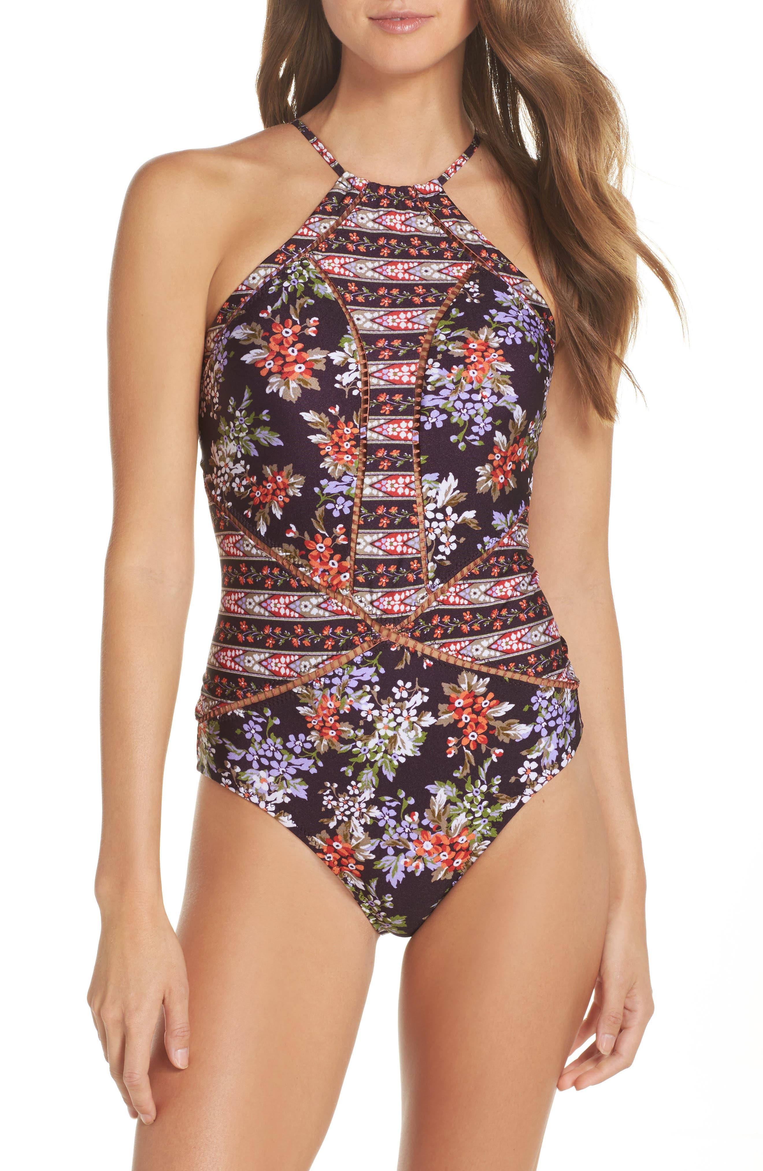 Floral Cottage One-Piece Swimsuit,                         Main,                         color, Plum
