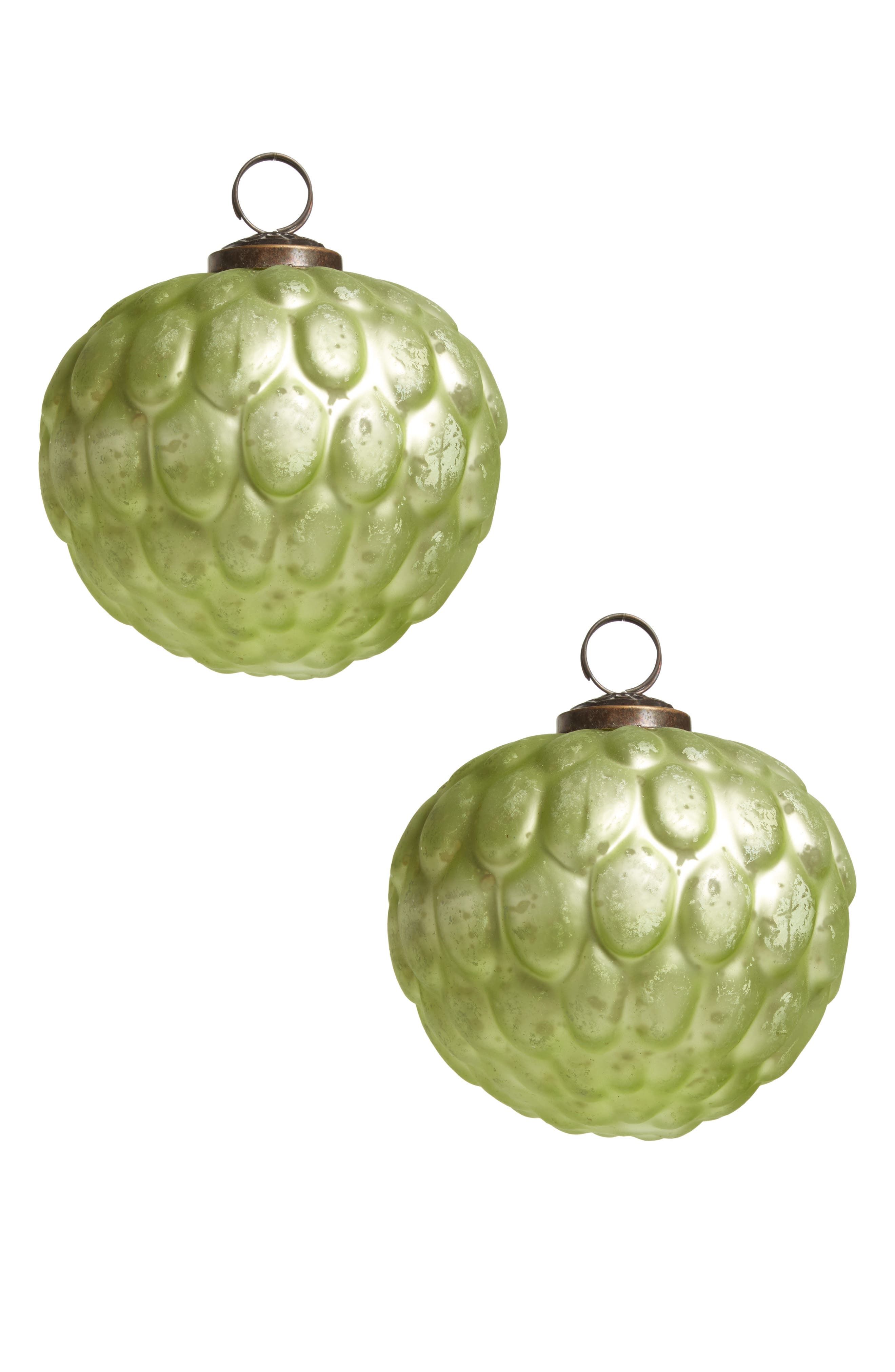 Set of 2 Glass Ball Ornaments,                             Main thumbnail 1, color,                             Silver/ Green Matte Foil