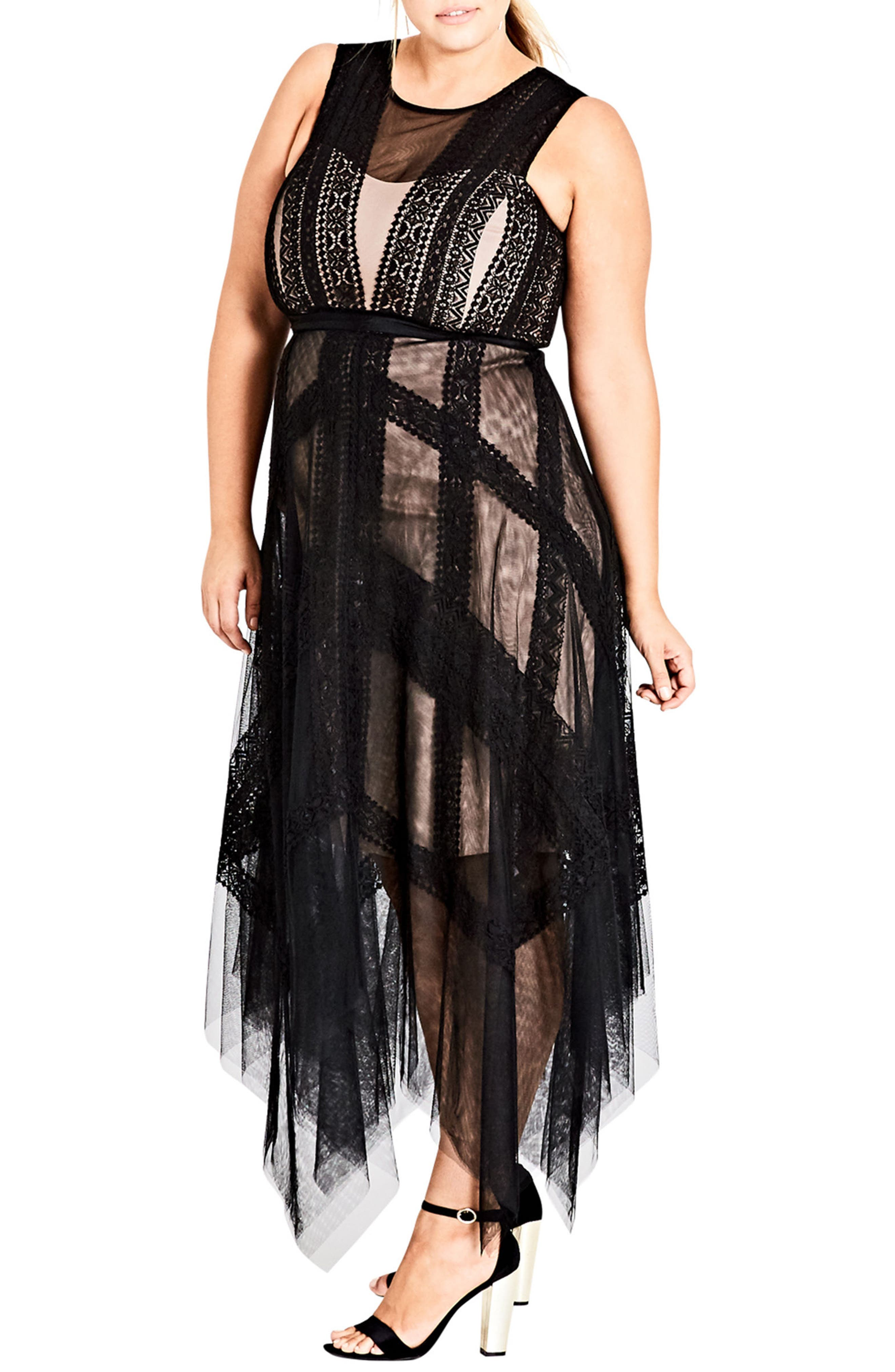 Whimsical Lace Maxi Dress,                             Main thumbnail 1, color,                             Black