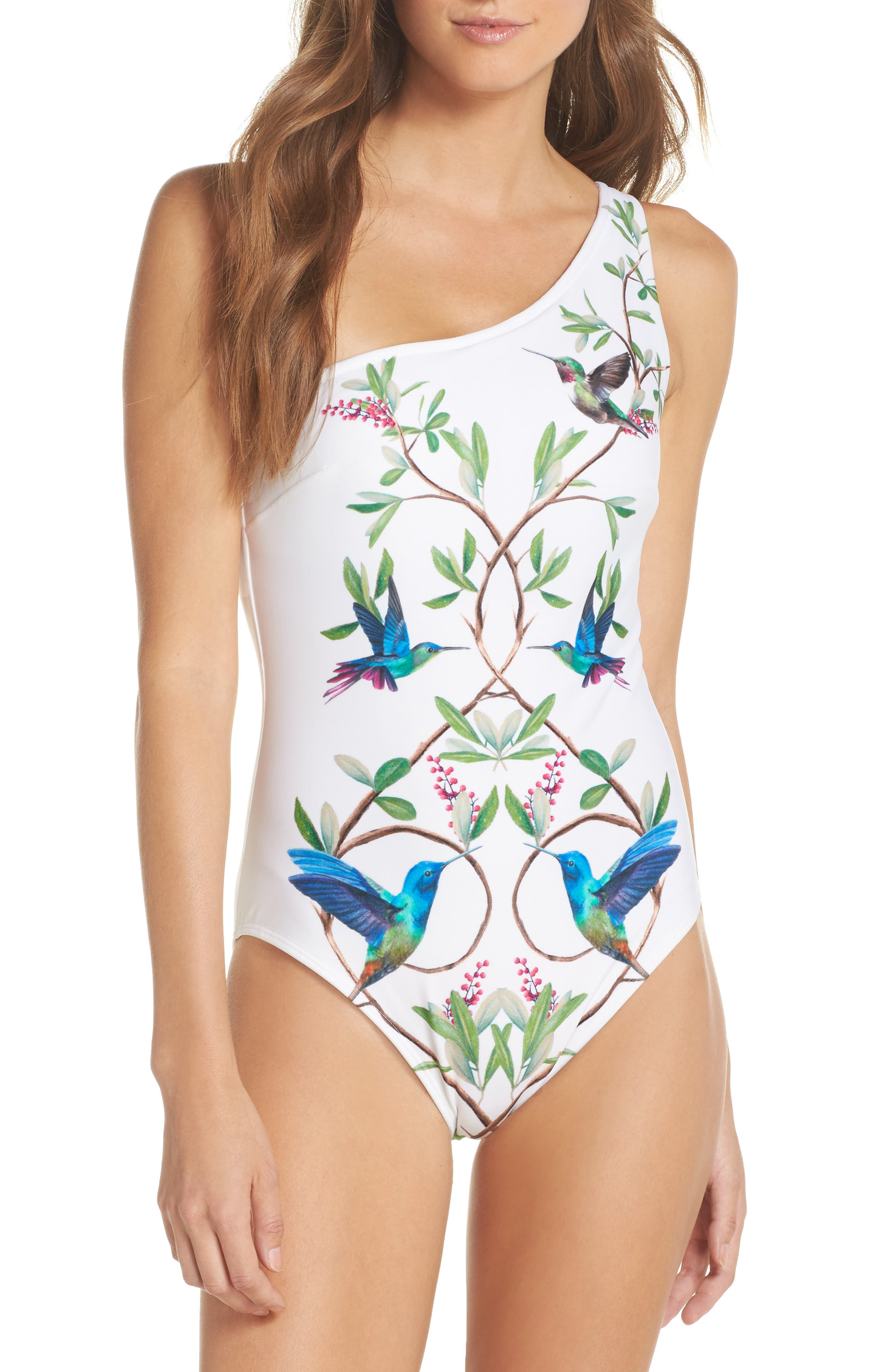 High Grove One-Piece Swimsuit,                         Main,                         color, White