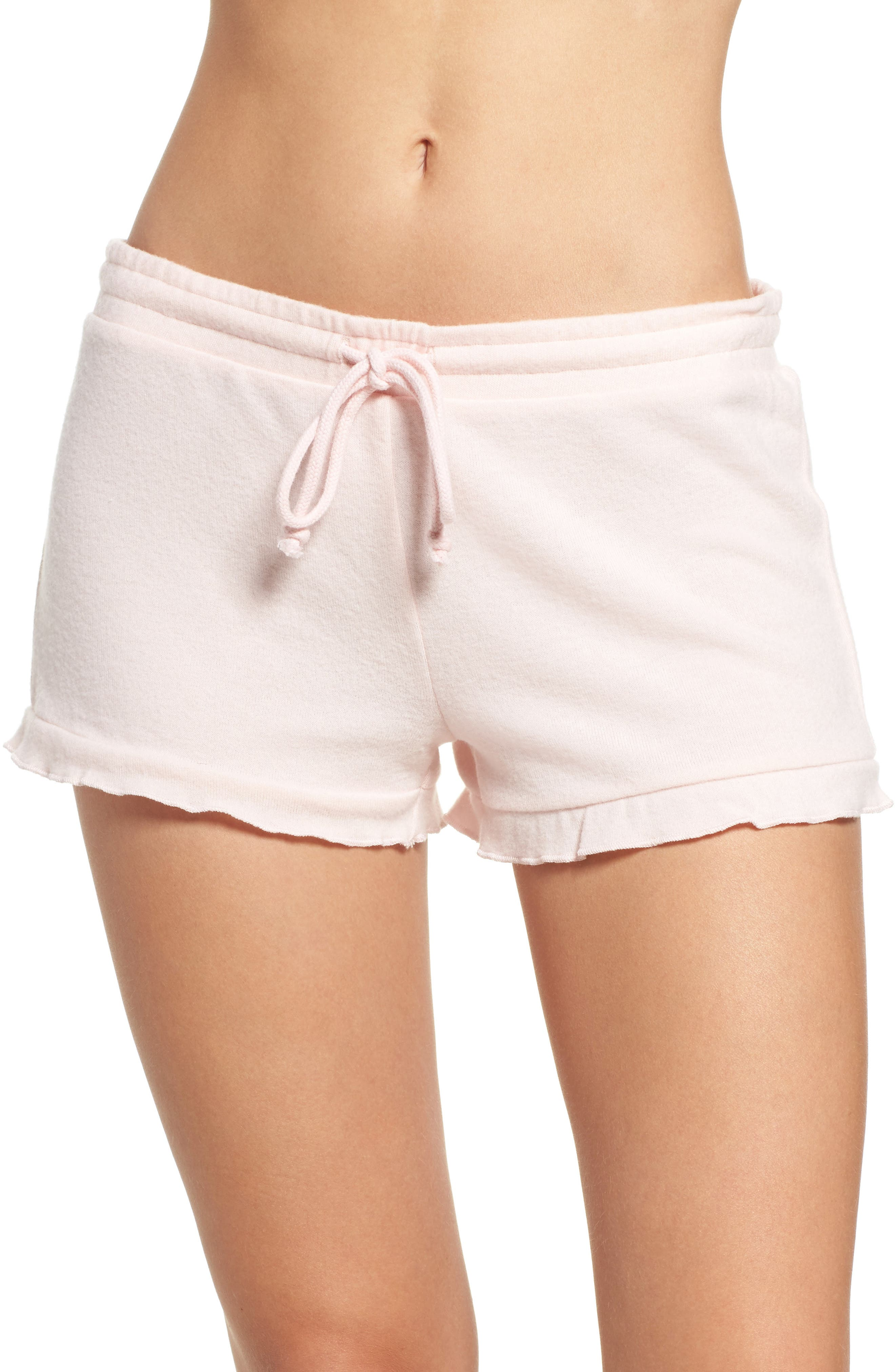 Peachy Jersey Ruffle Shorts,                         Main,                         color, Blush