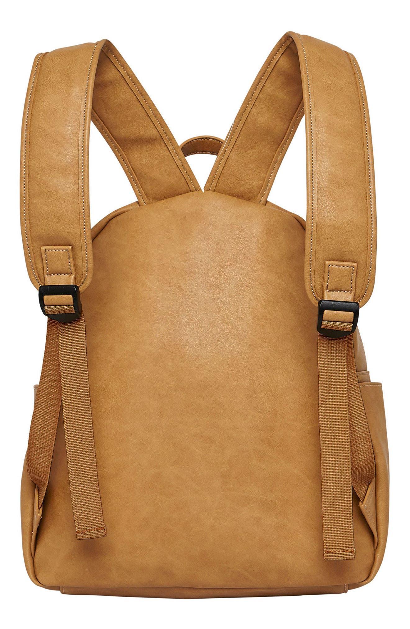 Practical Vegan Leather Backpack,                             Alternate thumbnail 2, color,                             Camel