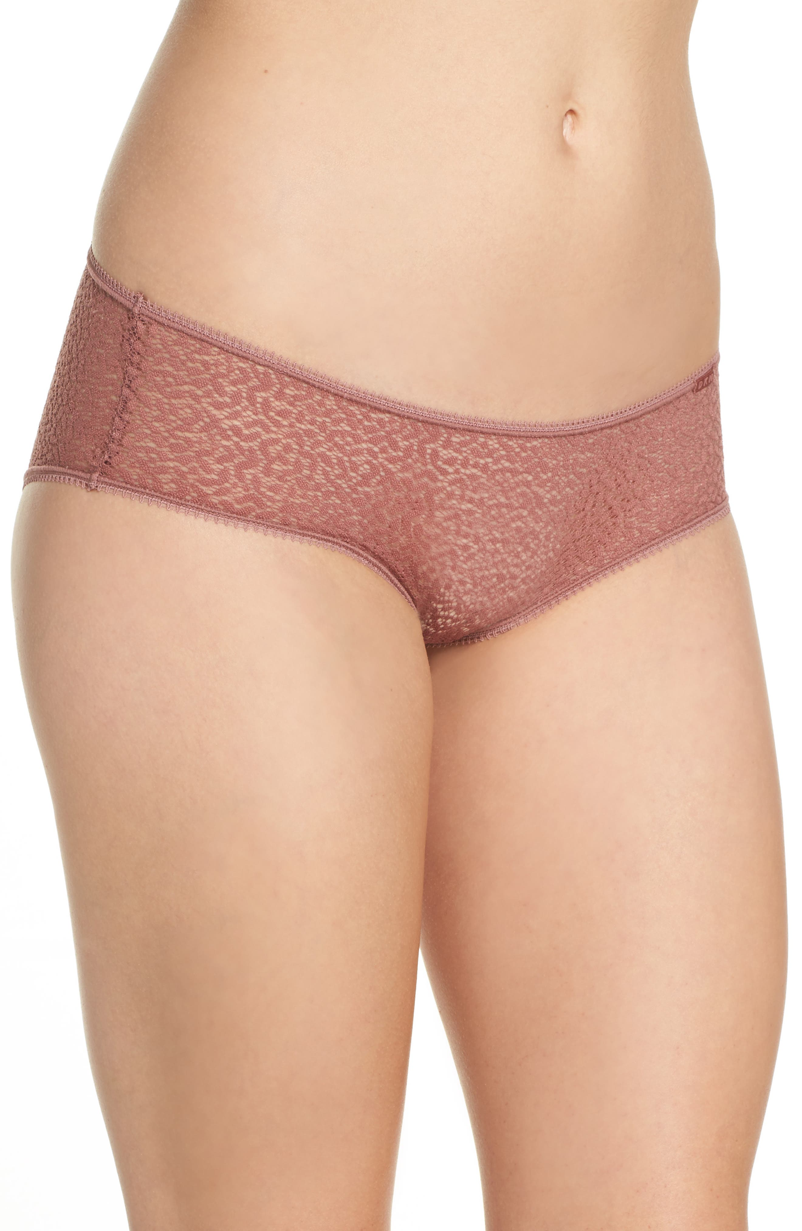 Modern Lace Hipster Panties,                             Alternate thumbnail 3, color,                             Rosewood 7Nq